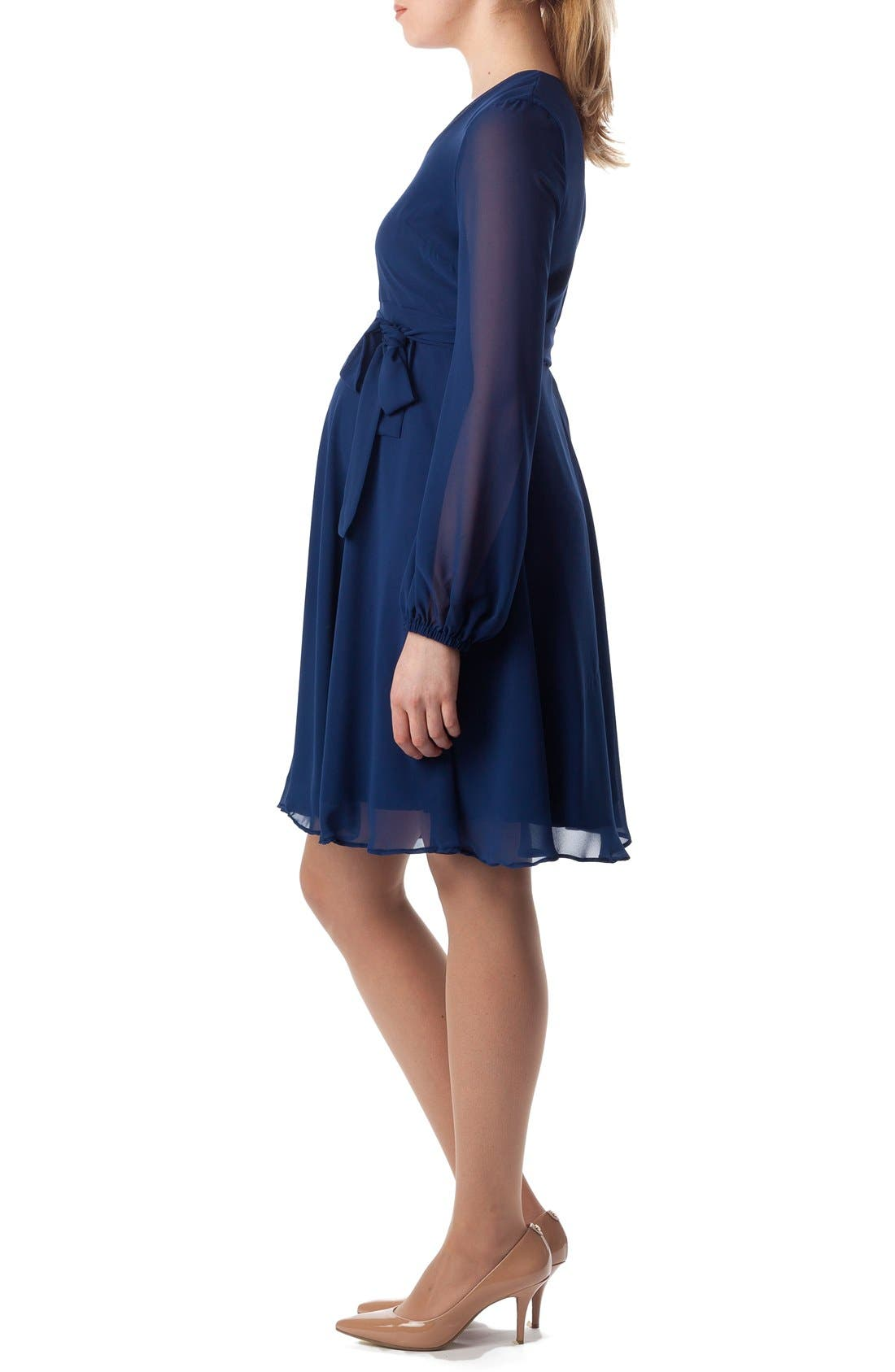 'Bellagio' Maternity Dress,                             Alternate thumbnail 3, color,                             Moonlight Blue