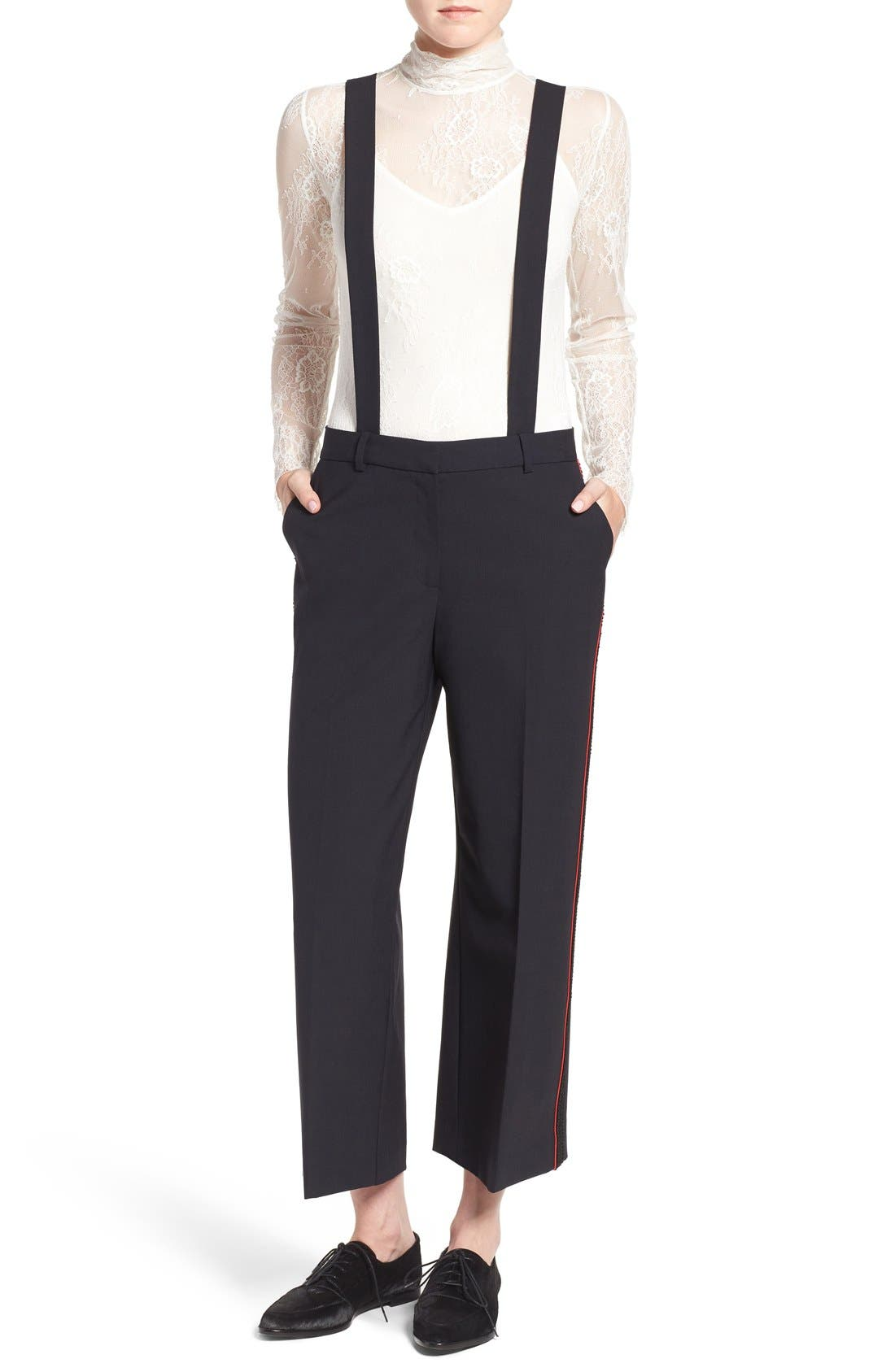 Main Image - Olivia Palermo + Chelsea28 High Rise Crop Suspender Pants