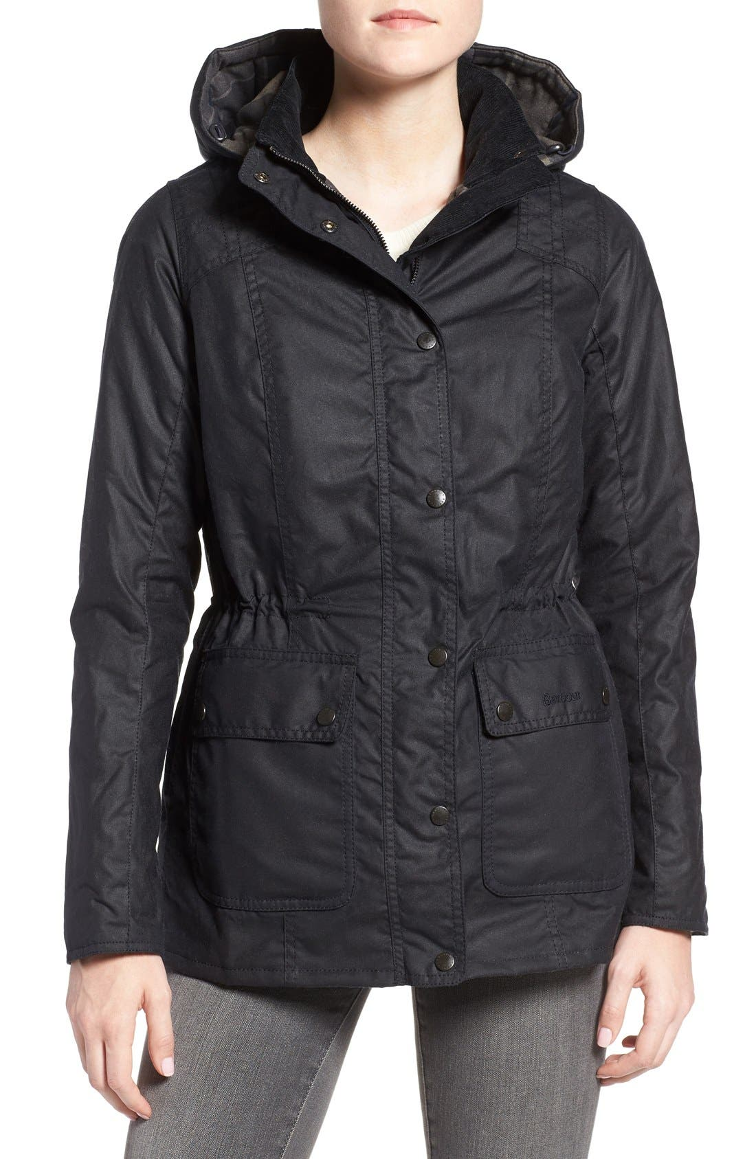 Main Image - Barbour 'Orkney' Waxed Cotton Anorak with Removable Hood