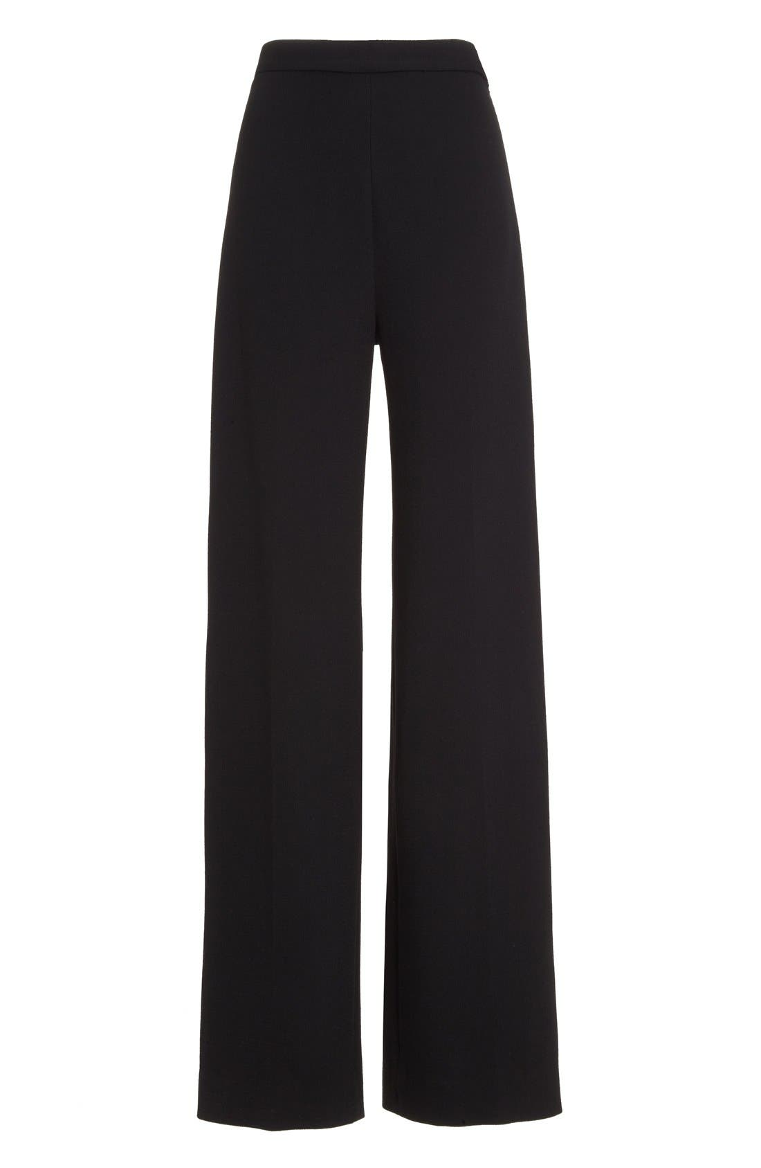 Stretch Wool High Waist Pants,                             Alternate thumbnail 4, color,                             Black