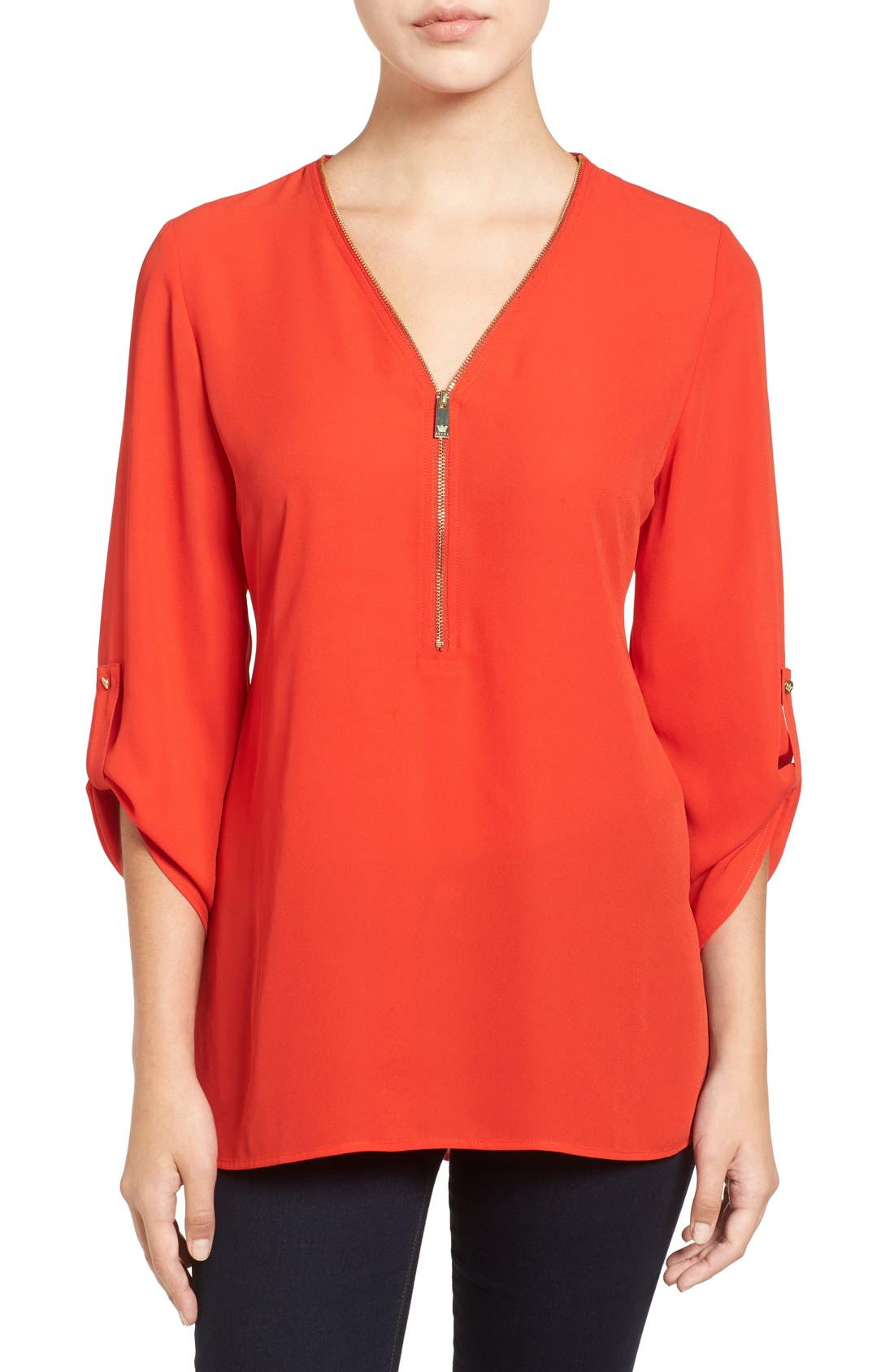 Main Image - Chaus Zip V-Neck Blouse