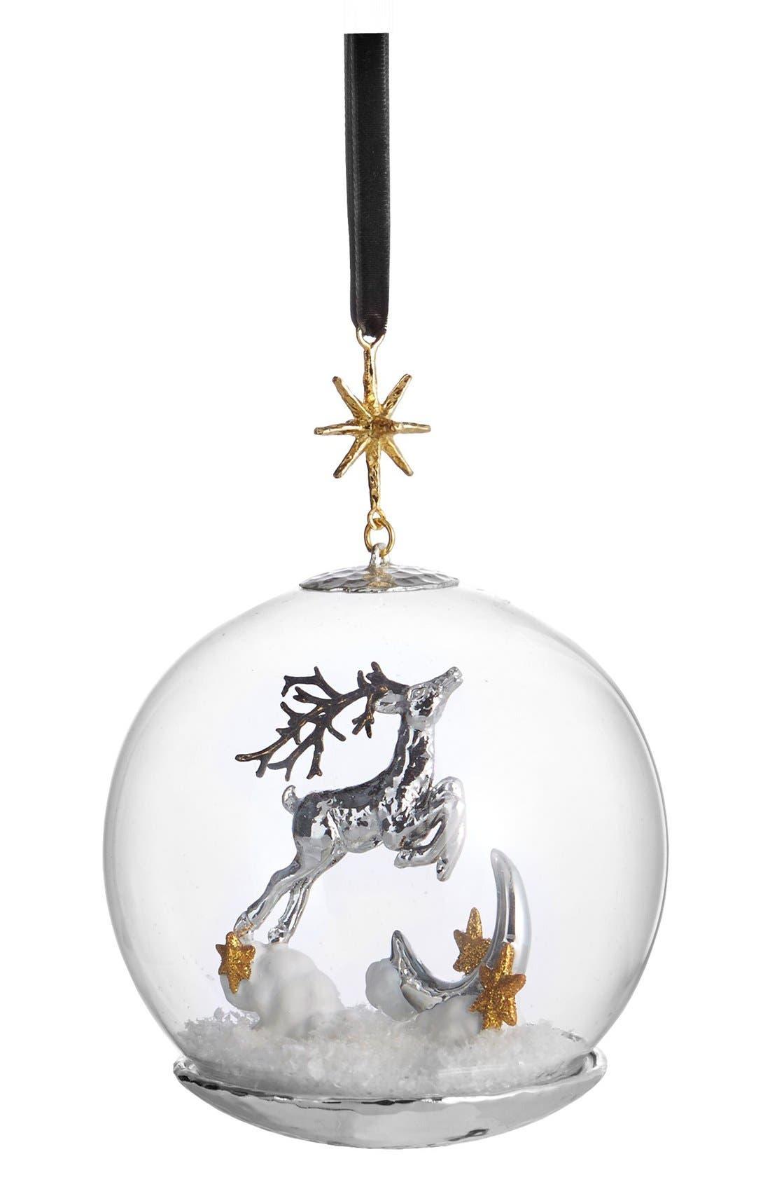 Reindeer Snow Globe Ornament,                         Main,                         color, Metallic Silver/ Gold