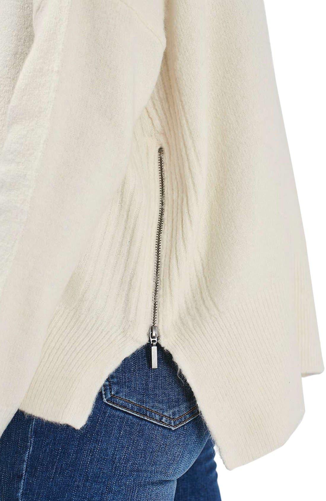 Zip Side Sweater,                             Alternate thumbnail 5, color,                             Cream