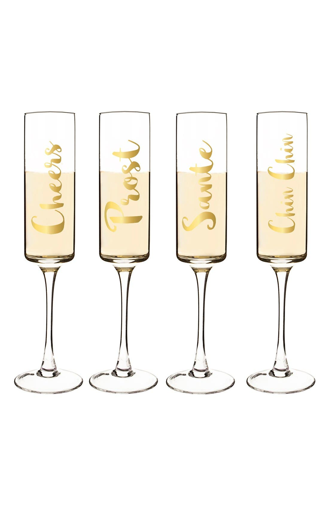 'Cheers' Champagne Flutes,                             Main thumbnail 1, color,                             Gold