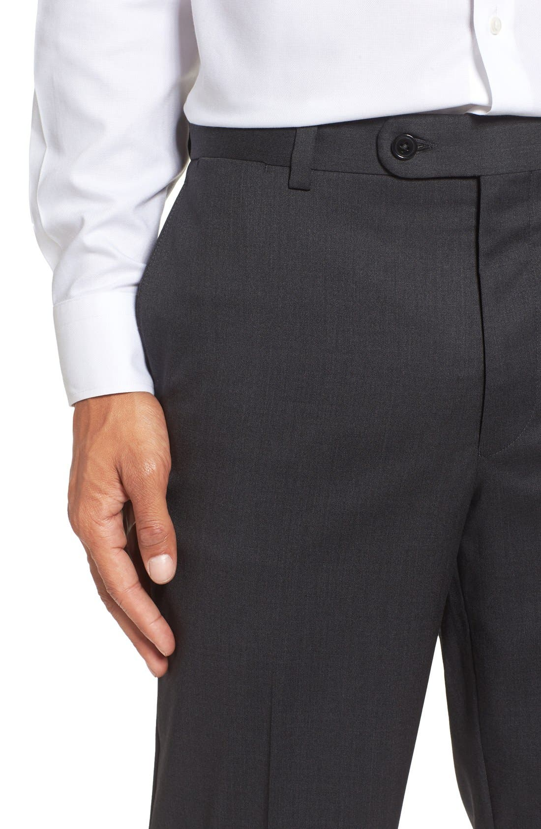 Flat Front Solid Wool Trousers,                             Alternate thumbnail 5, color,                             Charcoal