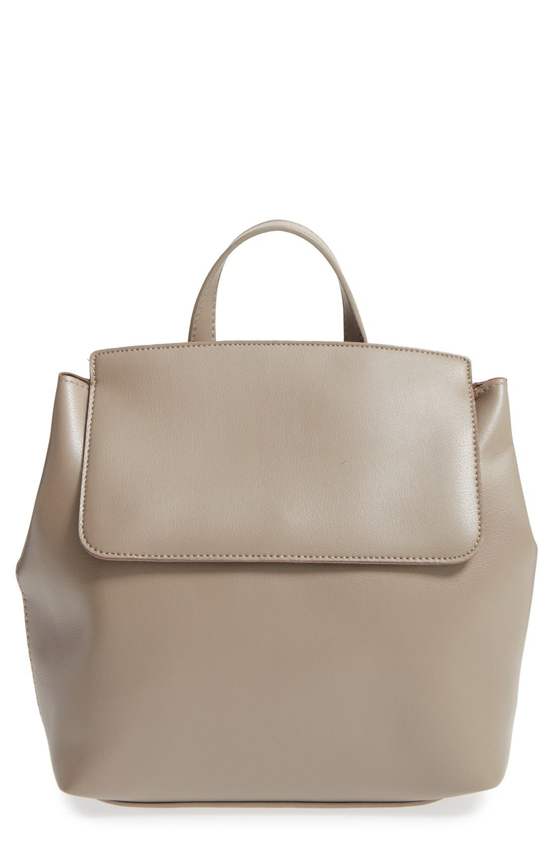 'Minimal Flap' Faux Leather Backpack,                             Main thumbnail 1, color,                             Taupe