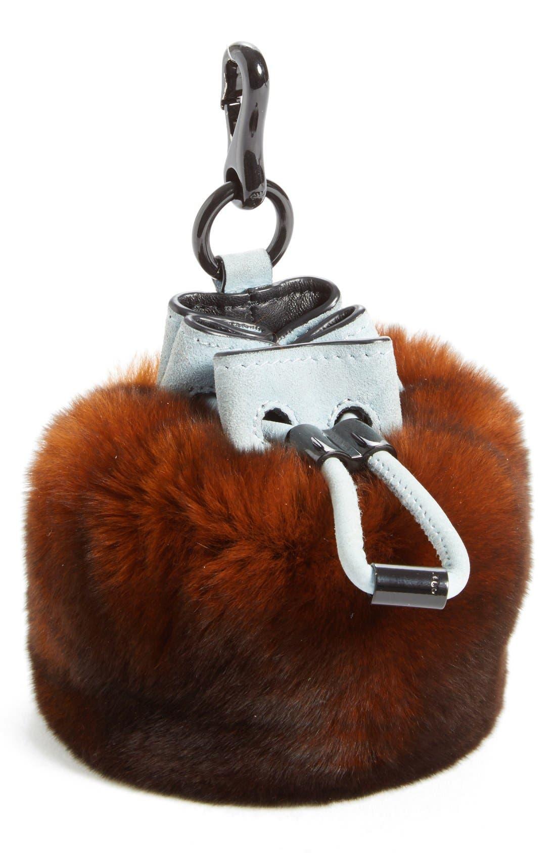 'Mini Roxy' Genuine Rabbit Fur Bag Charm,                         Main,                         color, Rust