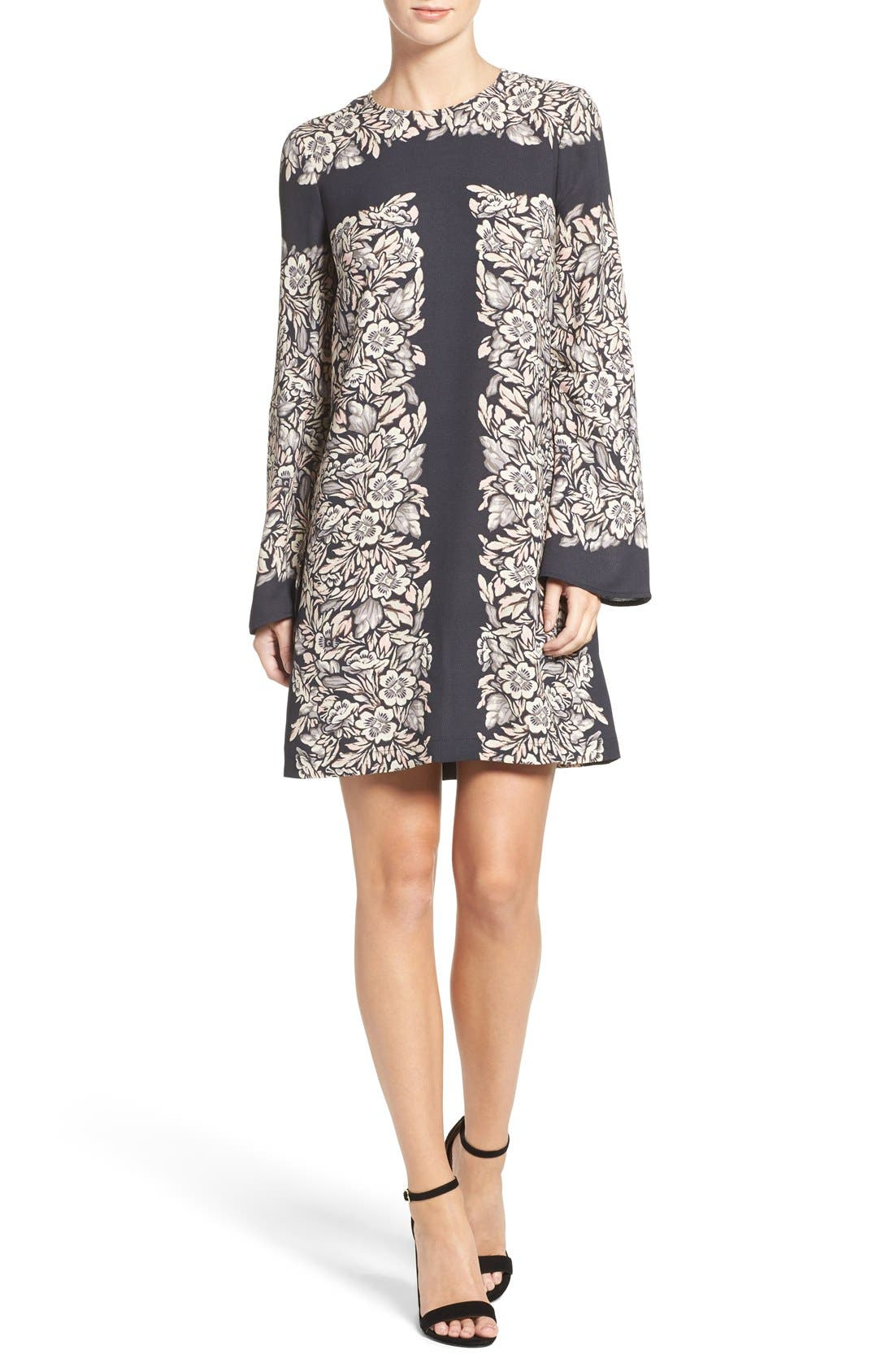 Alternate Image 4  - BCBGMAXAZRIA 'Dulchey' Floral Crepe Trapeze Dress