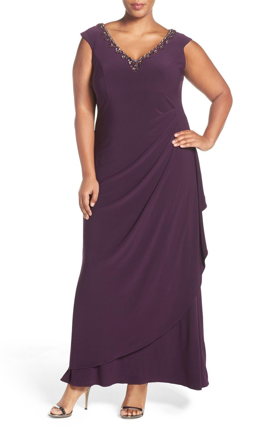 Embellished V-Neck Side Drape Jersey Gown,                         Main,                         color, Eggplant
