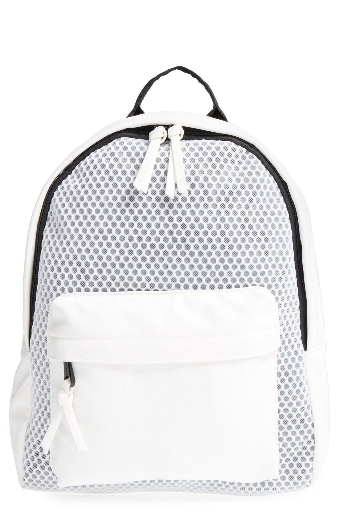 Main Image - POVERTY FLATS by rian 'Sport' Faux Leather & Mesh Backpack