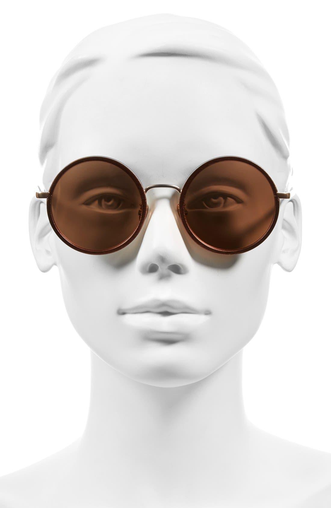 Alternate Image 2  - Linda Farrow 52mm Round 18 Karat Rose Gold Trim Sunglasses