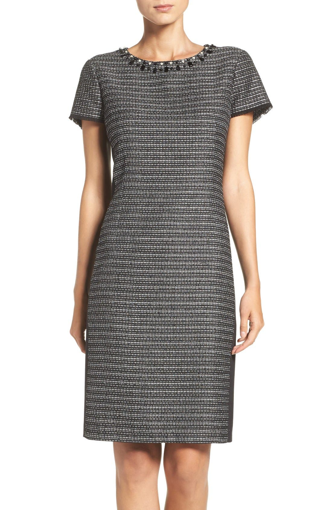 Embellished Tweed Shift Dress,                             Main thumbnail 1, color,                             Black/ Ivory