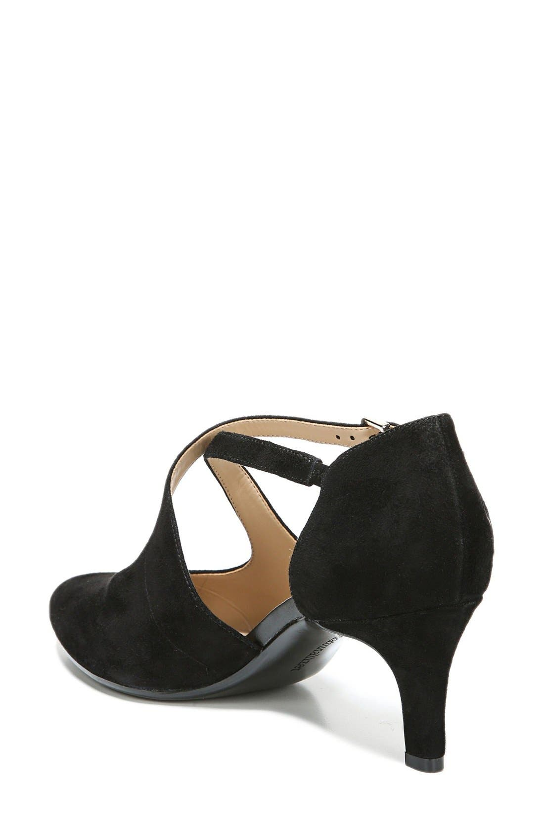 'Okira' Crisscross Pump,                             Alternate thumbnail 2, color,                             Black Suede