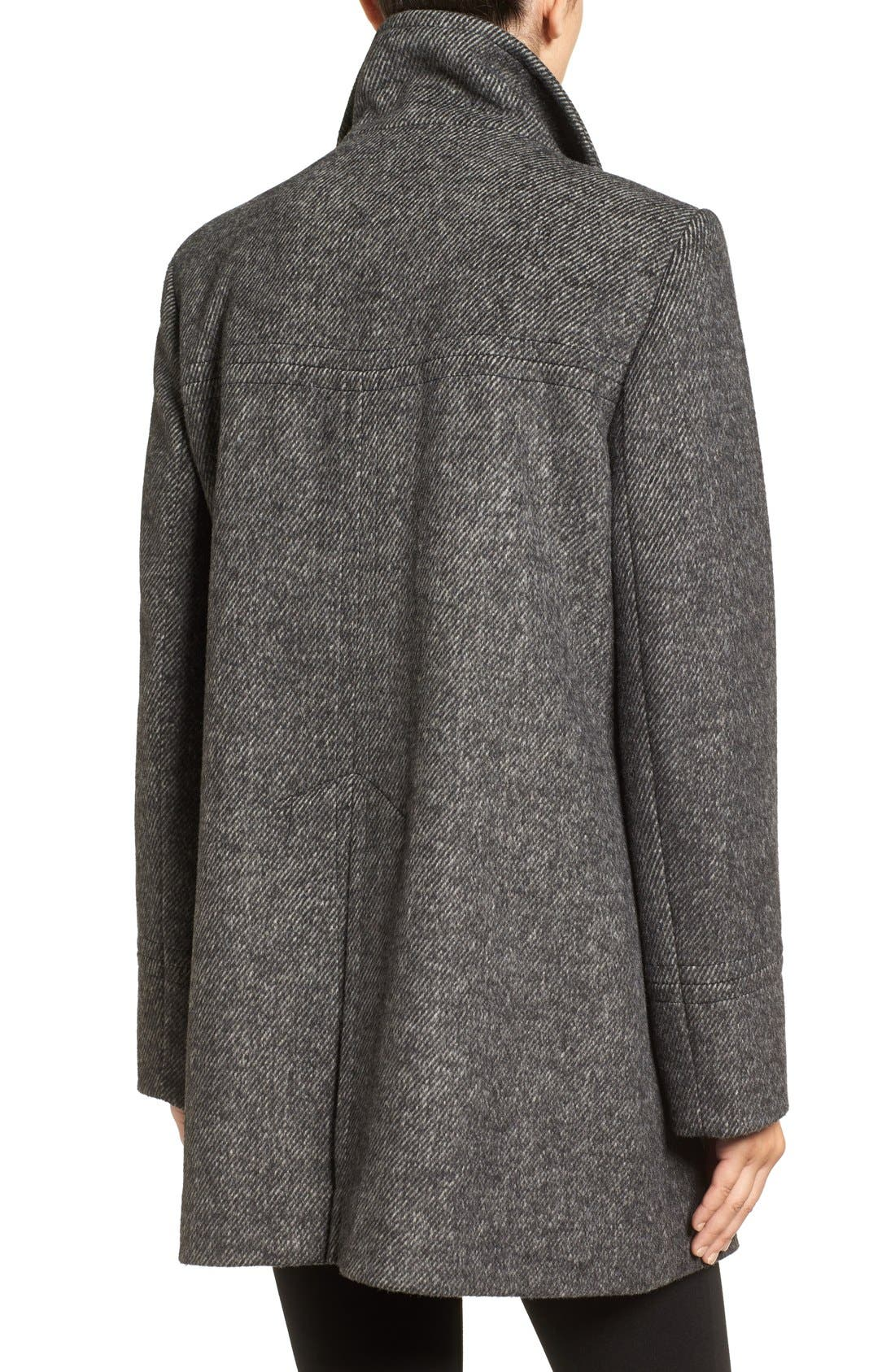 Double Breasted Swing Coat,                             Alternate thumbnail 2, color,                             Black/ Charcoal