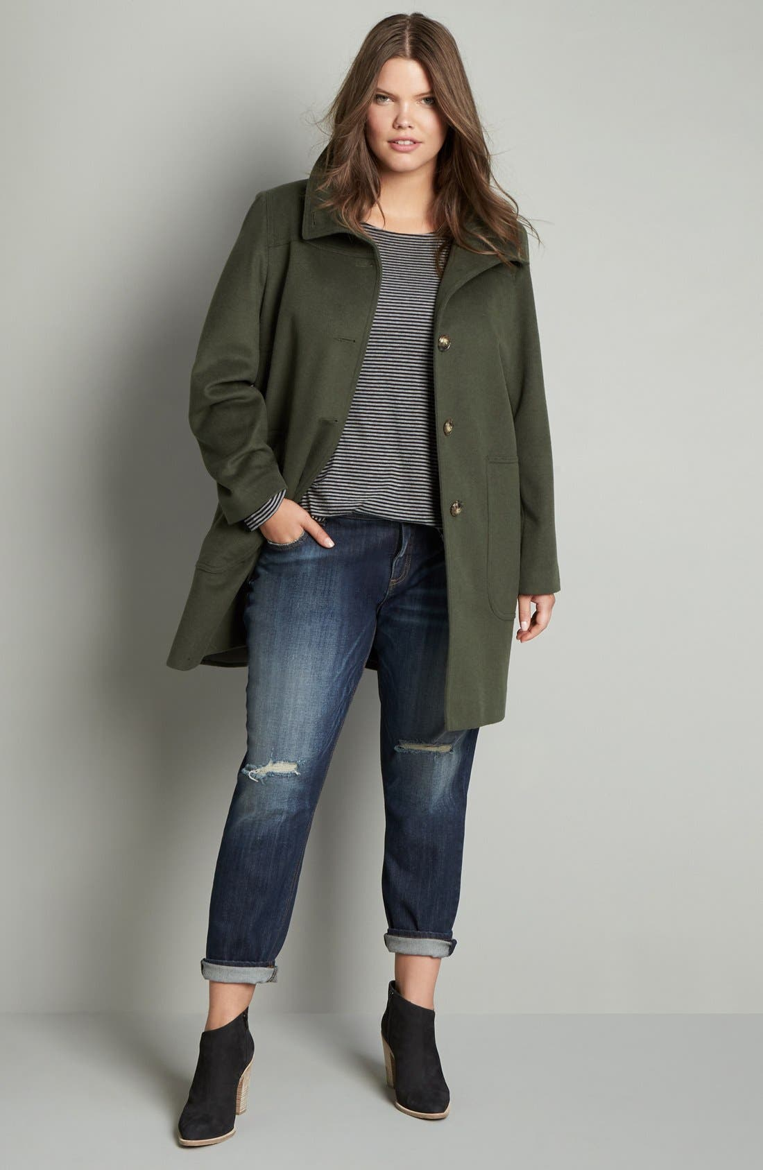 Alternate Image 2  - Kristen Blake Patch Pocket Wool Blend Topcoat (Plus Size)