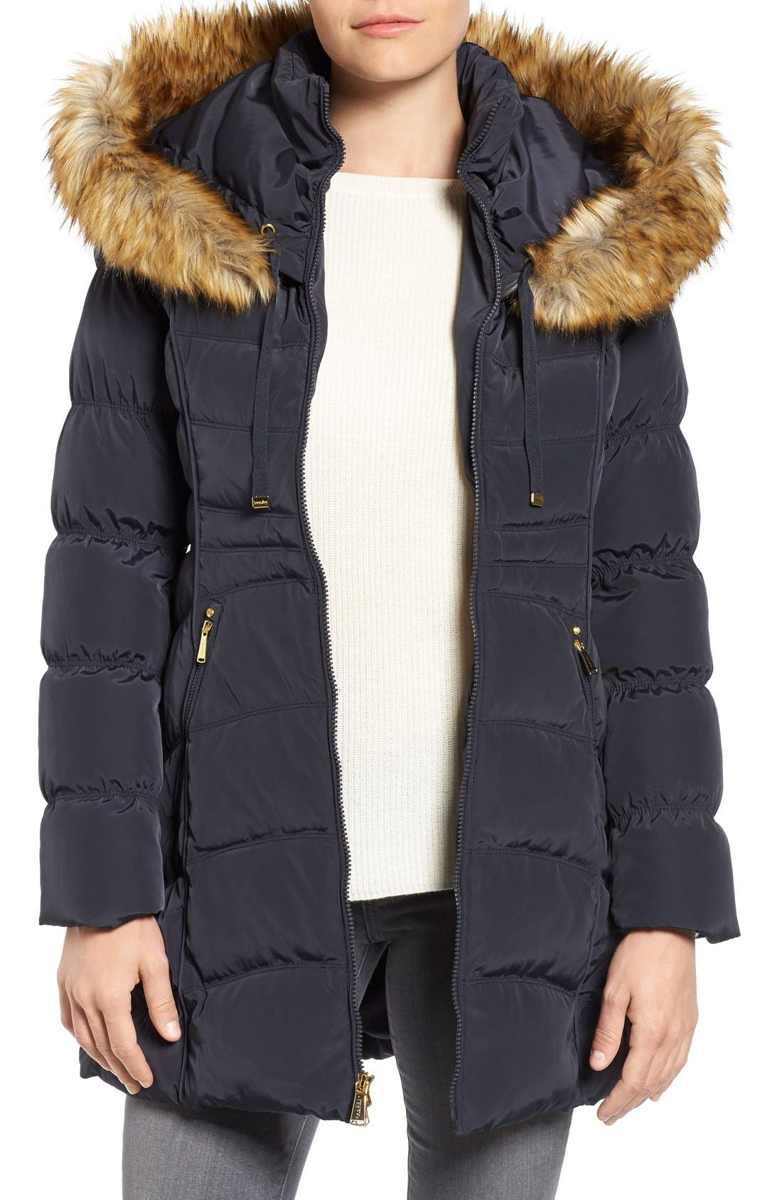 Hooded Down & Feather Fill Coat with Detachable Faux Fur Trim,                         Main,                         color, Mystic Blue