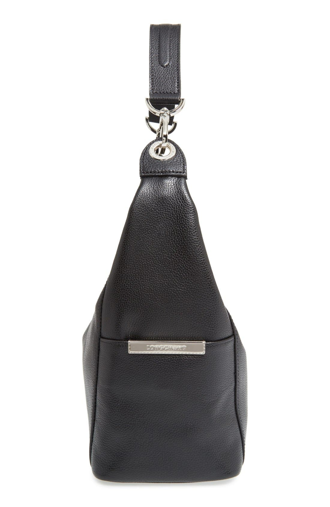 'Le Foulonne' Leather Hobo Bag,                             Alternate thumbnail 5, color,                             Black