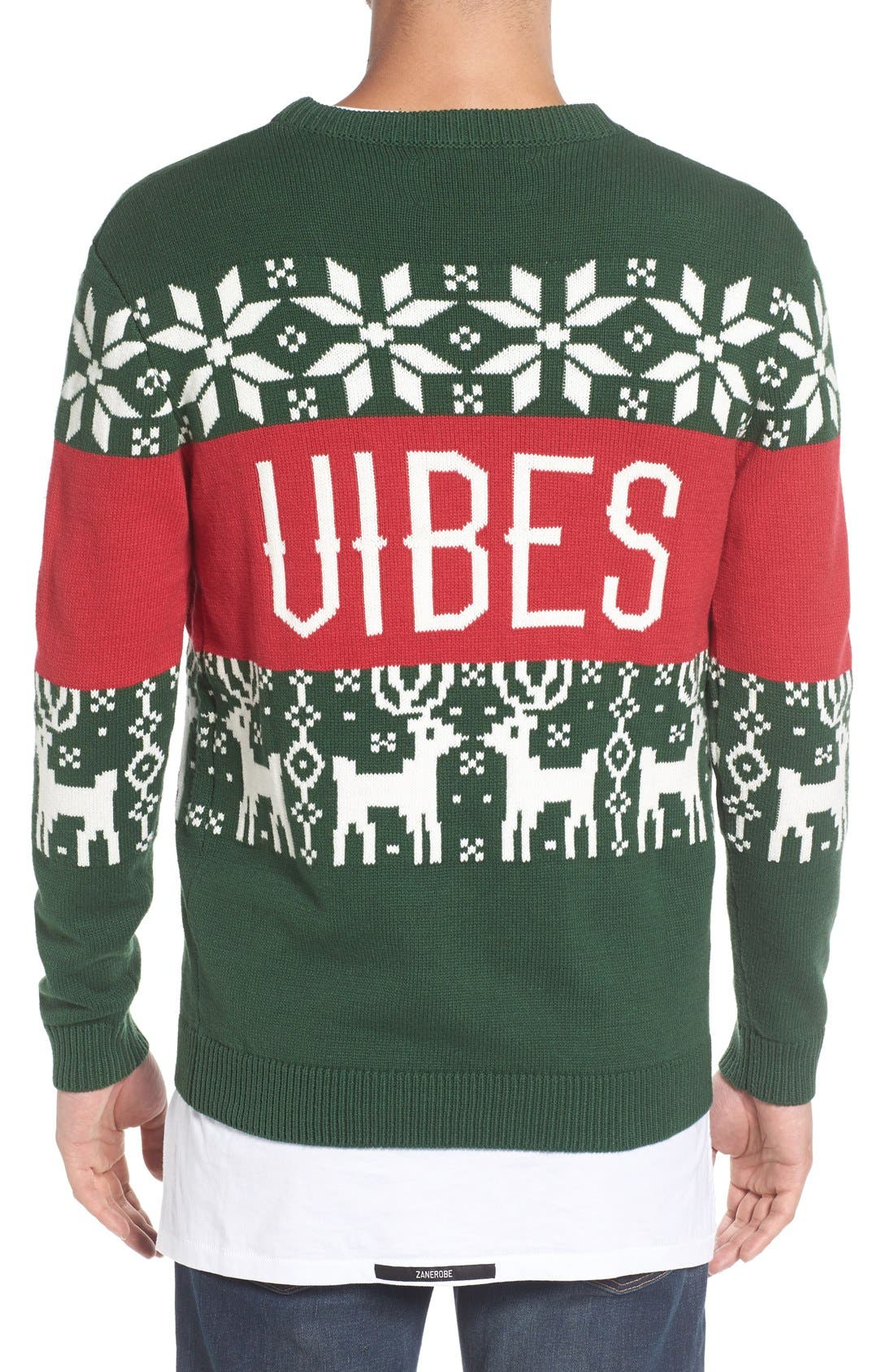 'Chill Vibes' Intarsia Crewneck Sweater,                             Alternate thumbnail 2, color,                             Red/ Green