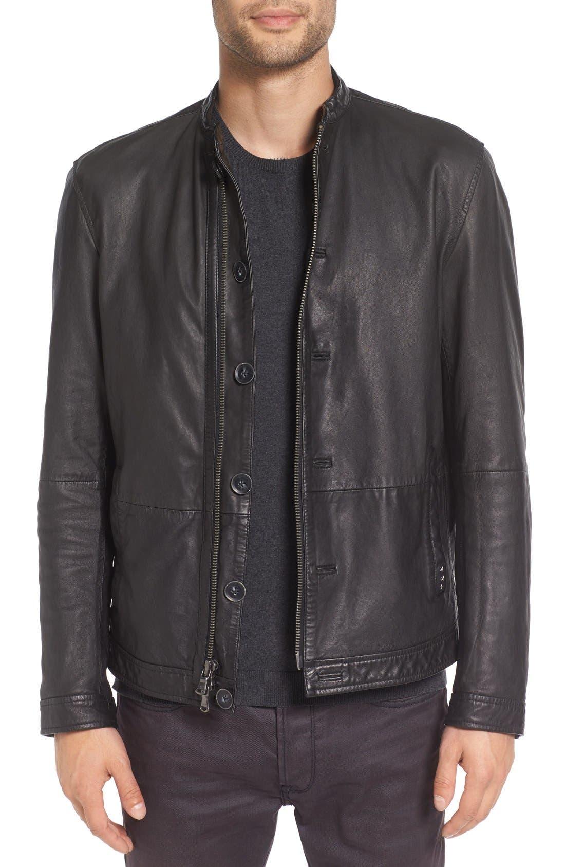 Black Leather Racer Jacket,                         Main,                         color, Coal