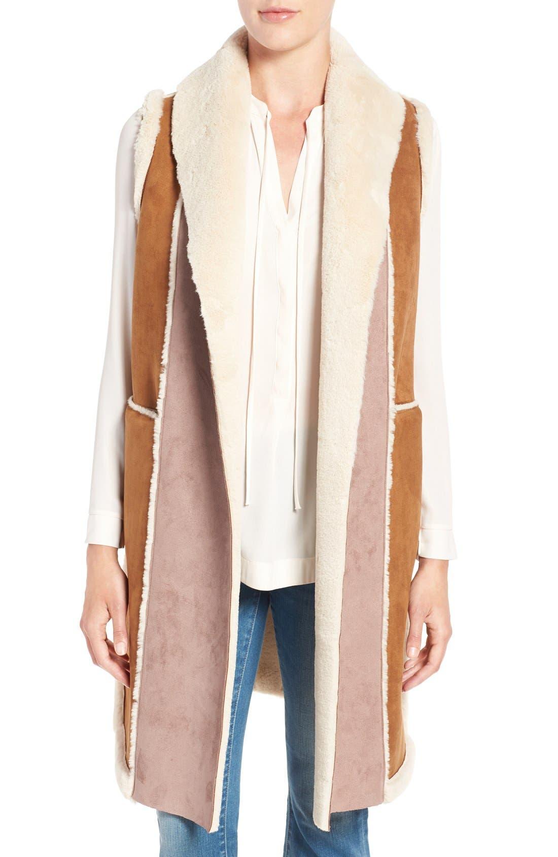 Long Faux Shearling Vest,                             Main thumbnail 1, color,                             Cognac