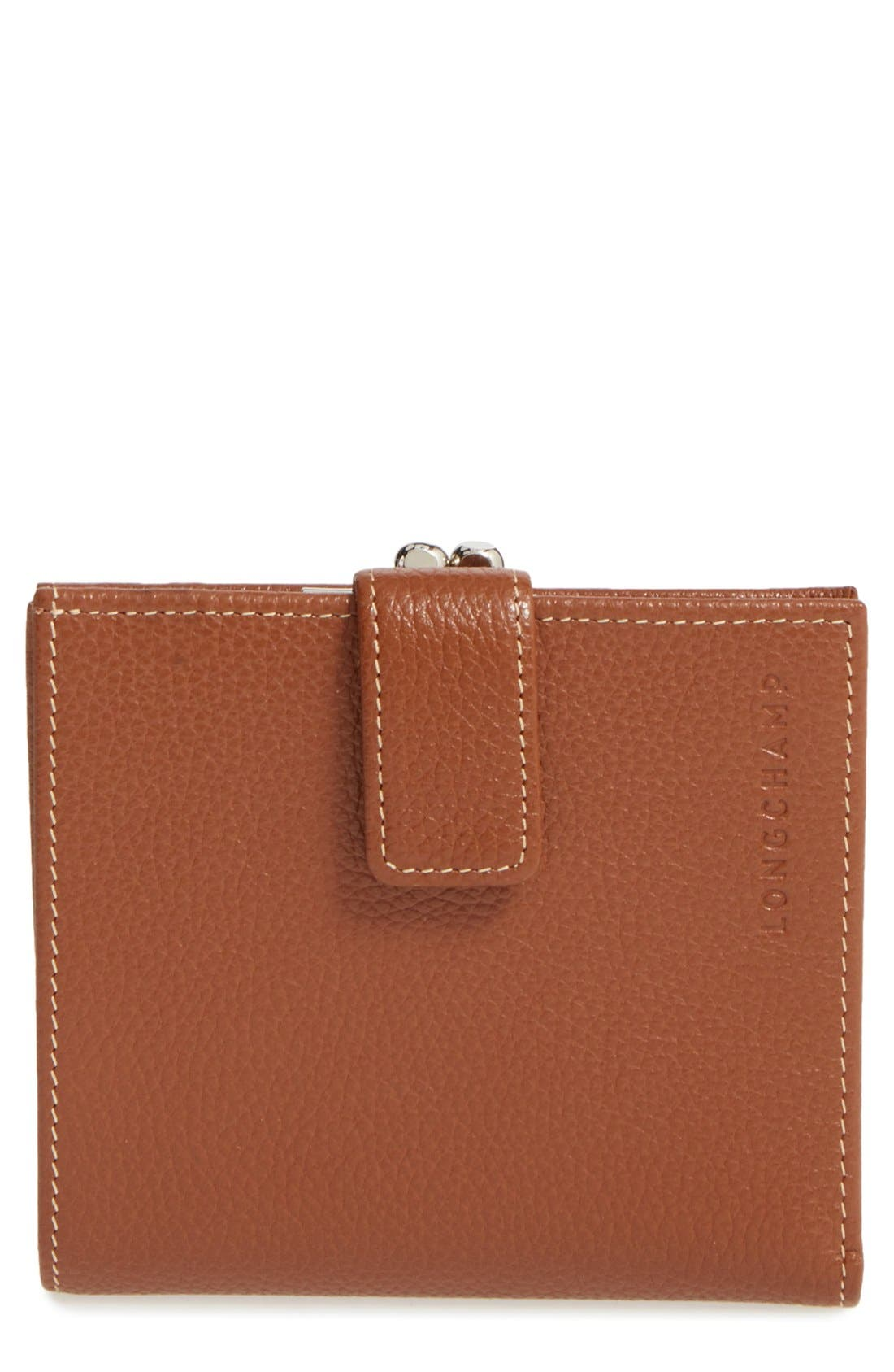 Longchamp 'Le Foulonne' Pebbled Leather Wallet
