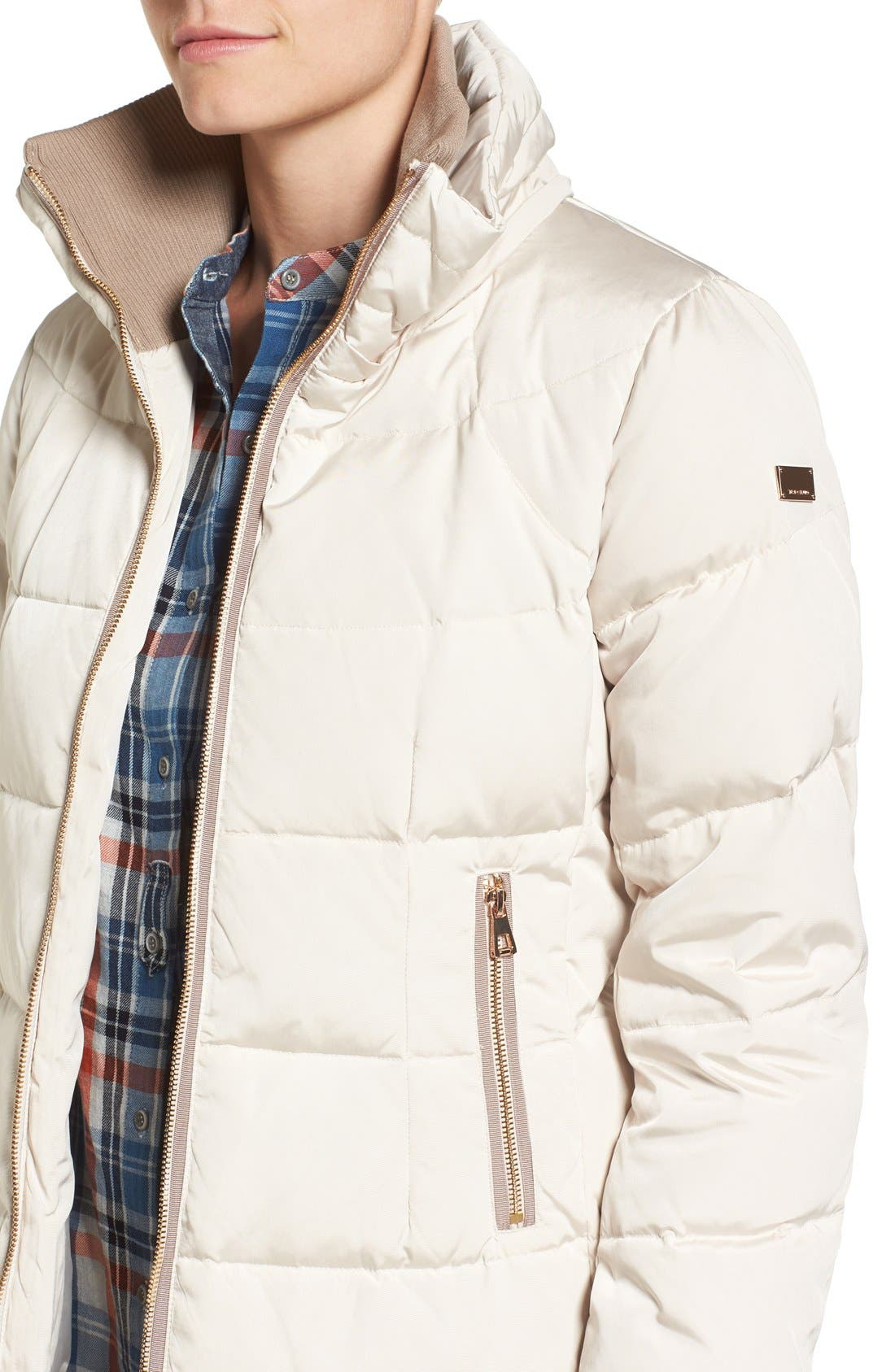 Down & Feather Fill Coat with Faux Fur Trim Hood,                             Alternate thumbnail 5, color,                             Stone
