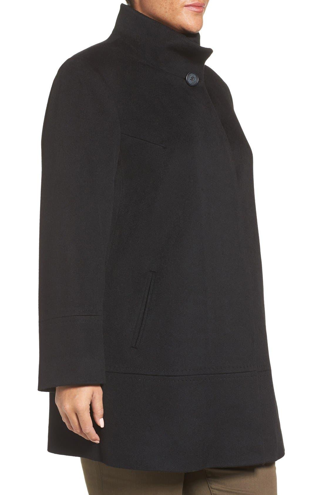 Loro Piana Wool Car Coat,                             Alternate thumbnail 3, color,                             Black
