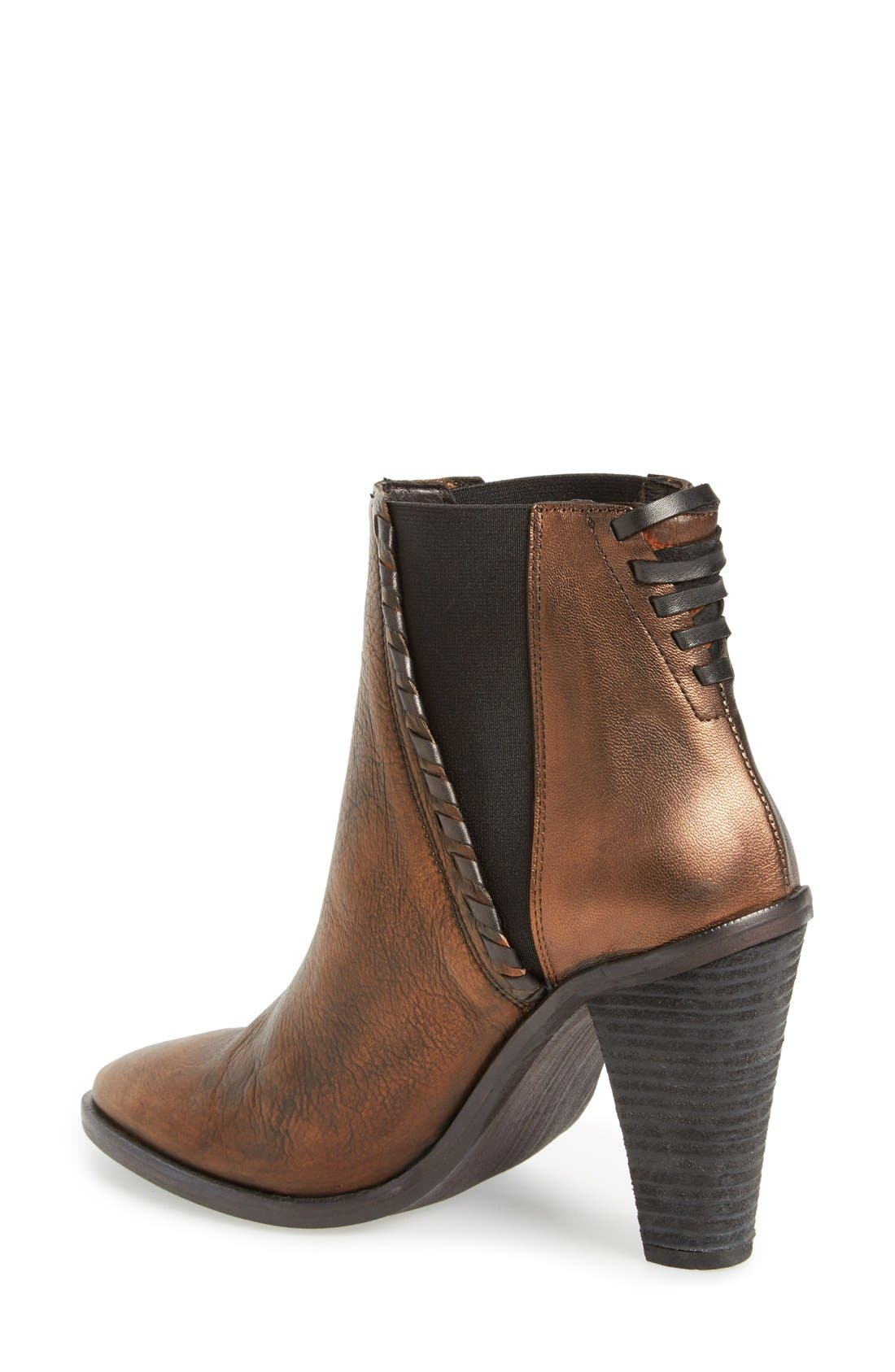 'Stardust' Chelsea Boot,                             Alternate thumbnail 2, color,                             Brown/ Bronze Leather
