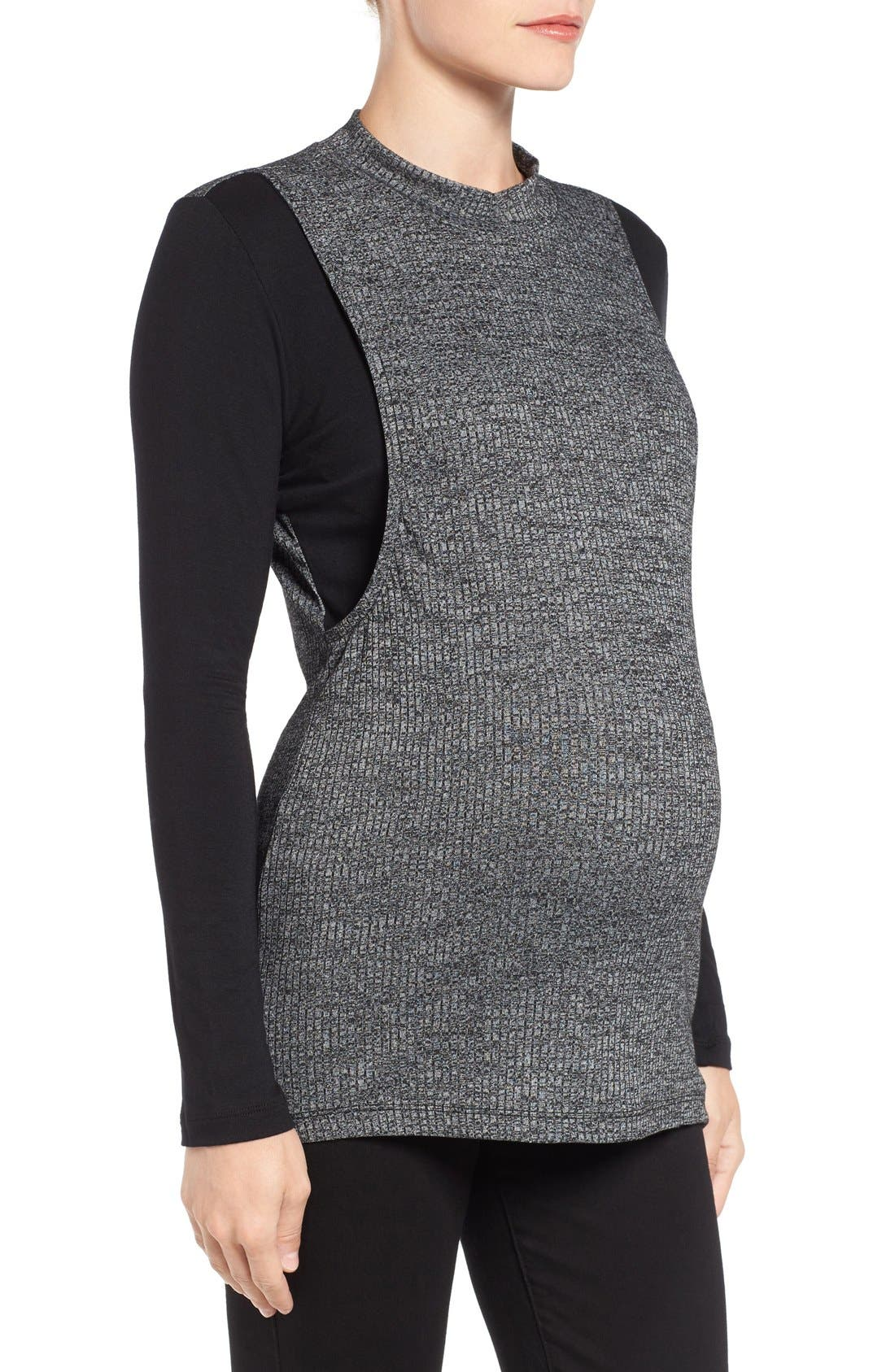 Alternate Image 3  - LAB40 'Brie' Colorblock Maternity/Nursing Sweater