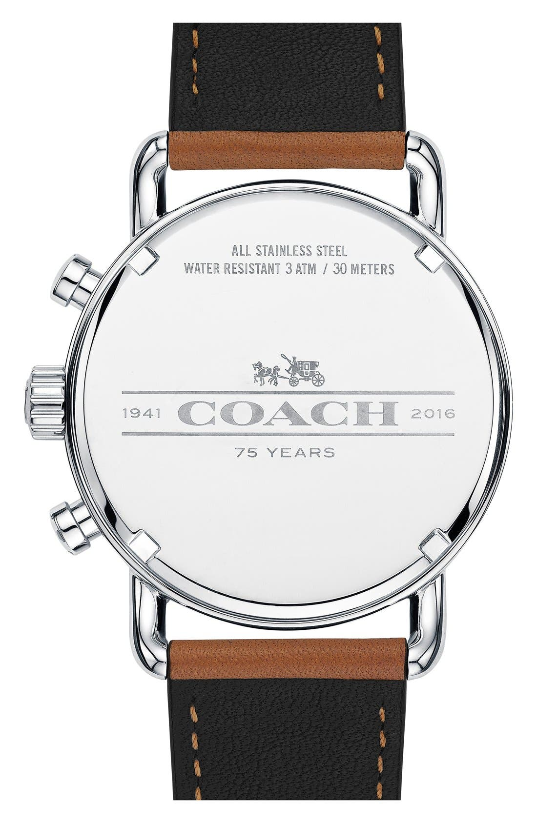 Alternate Image 4  - COACH 'Delancey' Chronograph Leather Strap Watch, 42mm
