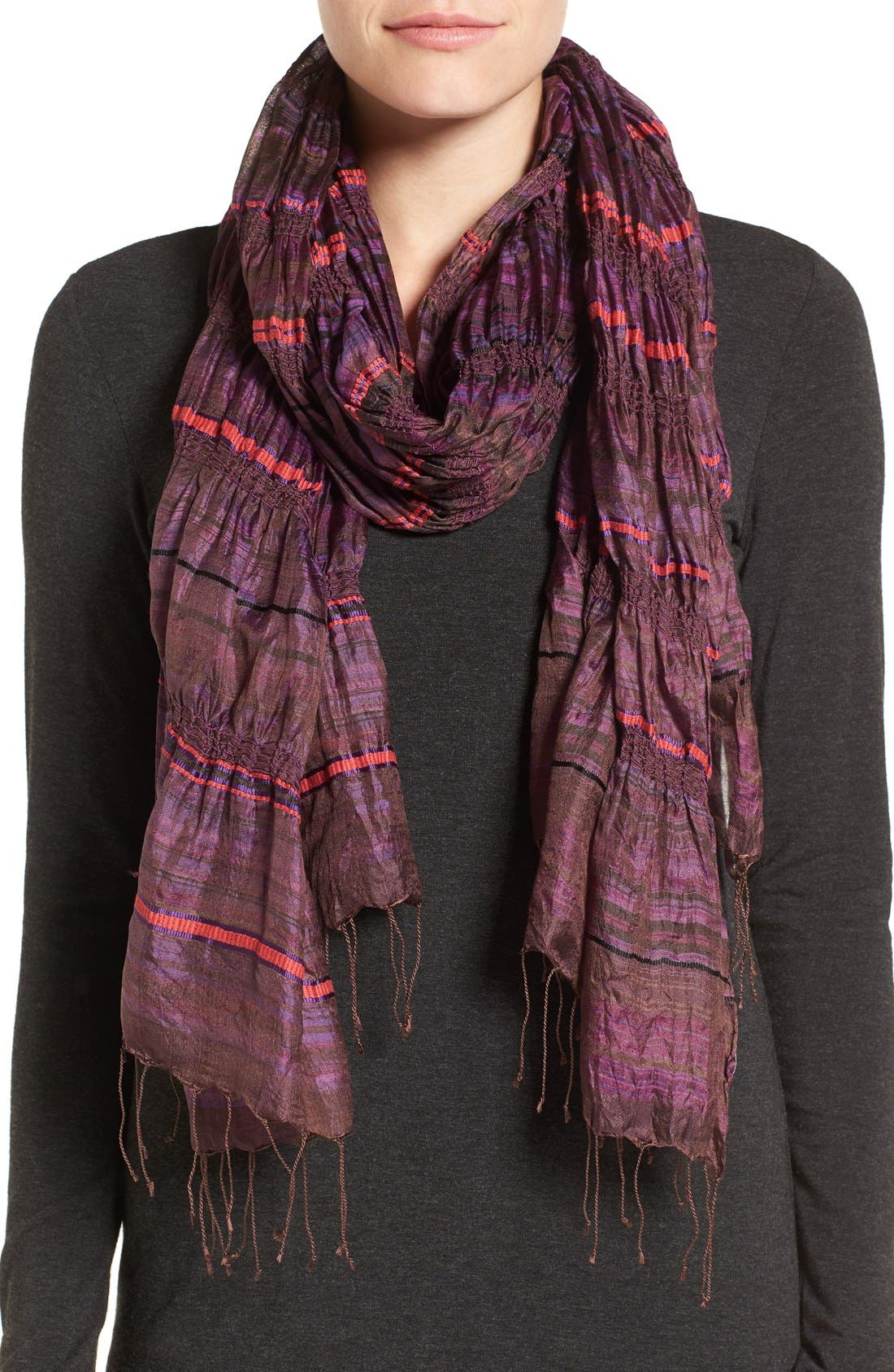 Main Image - Eileen Fisher Stripe Silk Scarf