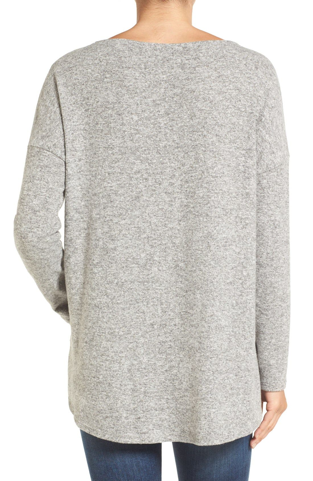 Alternate Image 2  - Gibson Cozy Fleece Ballet Neck High/Low Pullover (Regular & Petite)