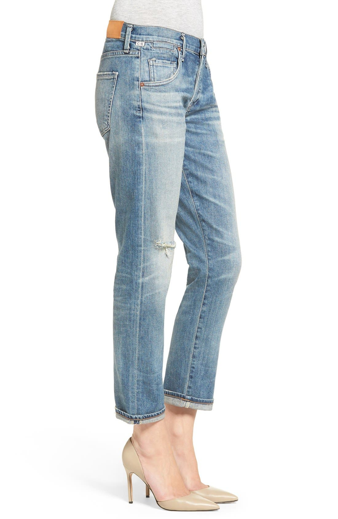 'Emerson' Ripped Slim Boyfriend Jeans,                             Alternate thumbnail 3, color,                             Roseland