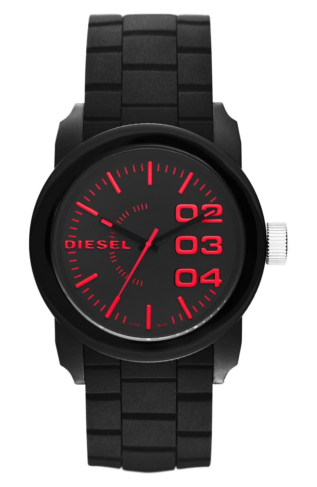 Alternate Image 1 Selected - DIESEL® Double Down Silicone Strap Watch, 44mm