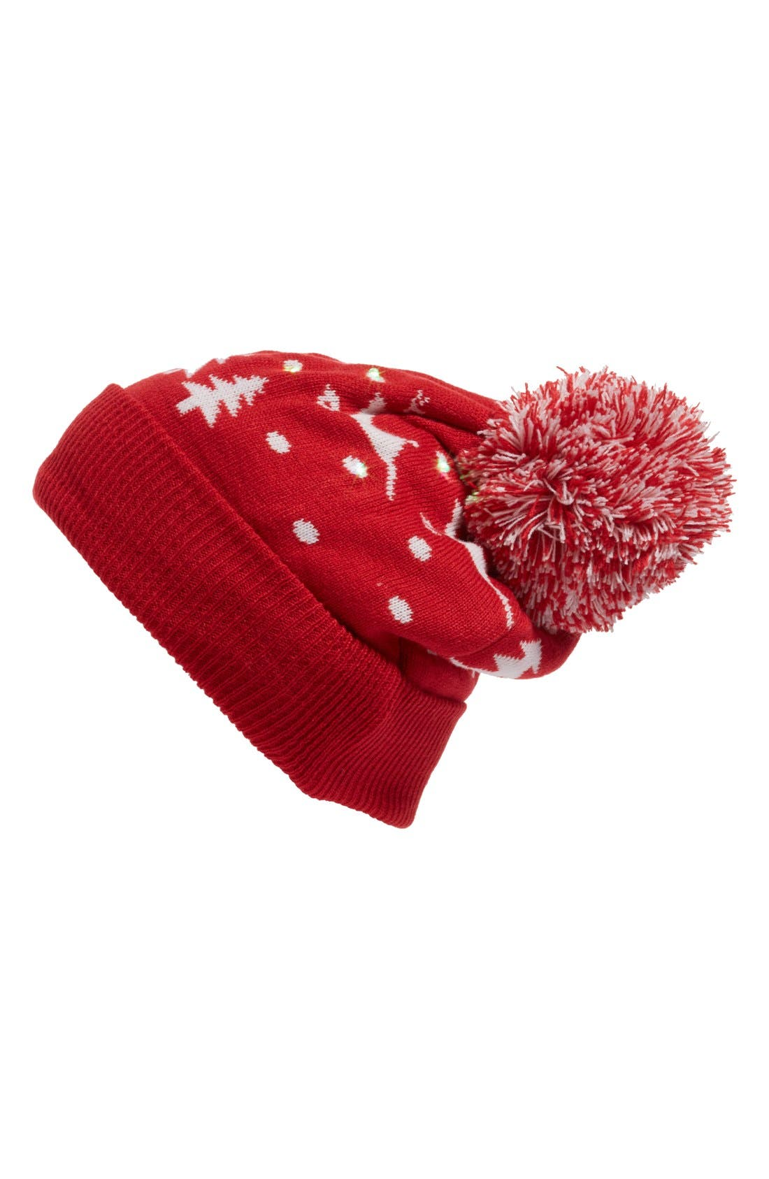 Snowy Lights Beanie,                         Main,                         color, Christmas Red