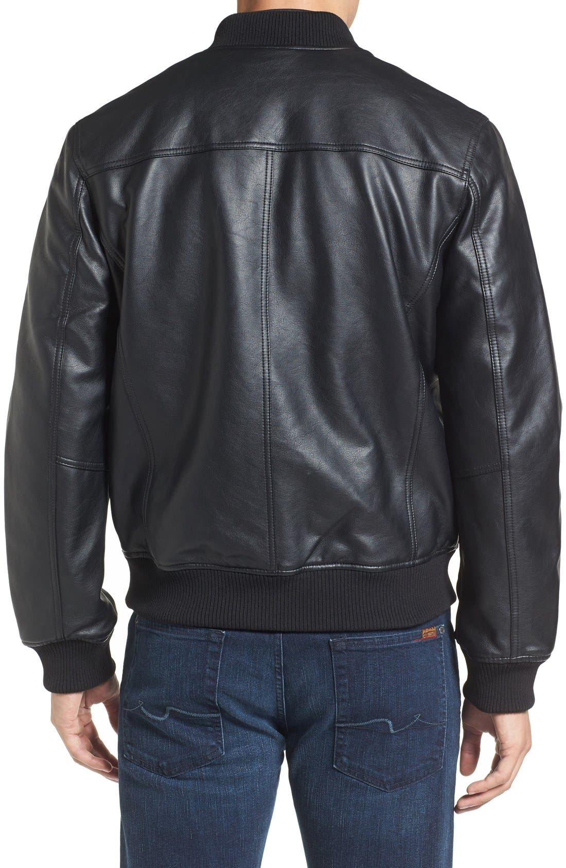 Faux Leather Varsity Jacket,                             Alternate thumbnail 2, color,                             Black