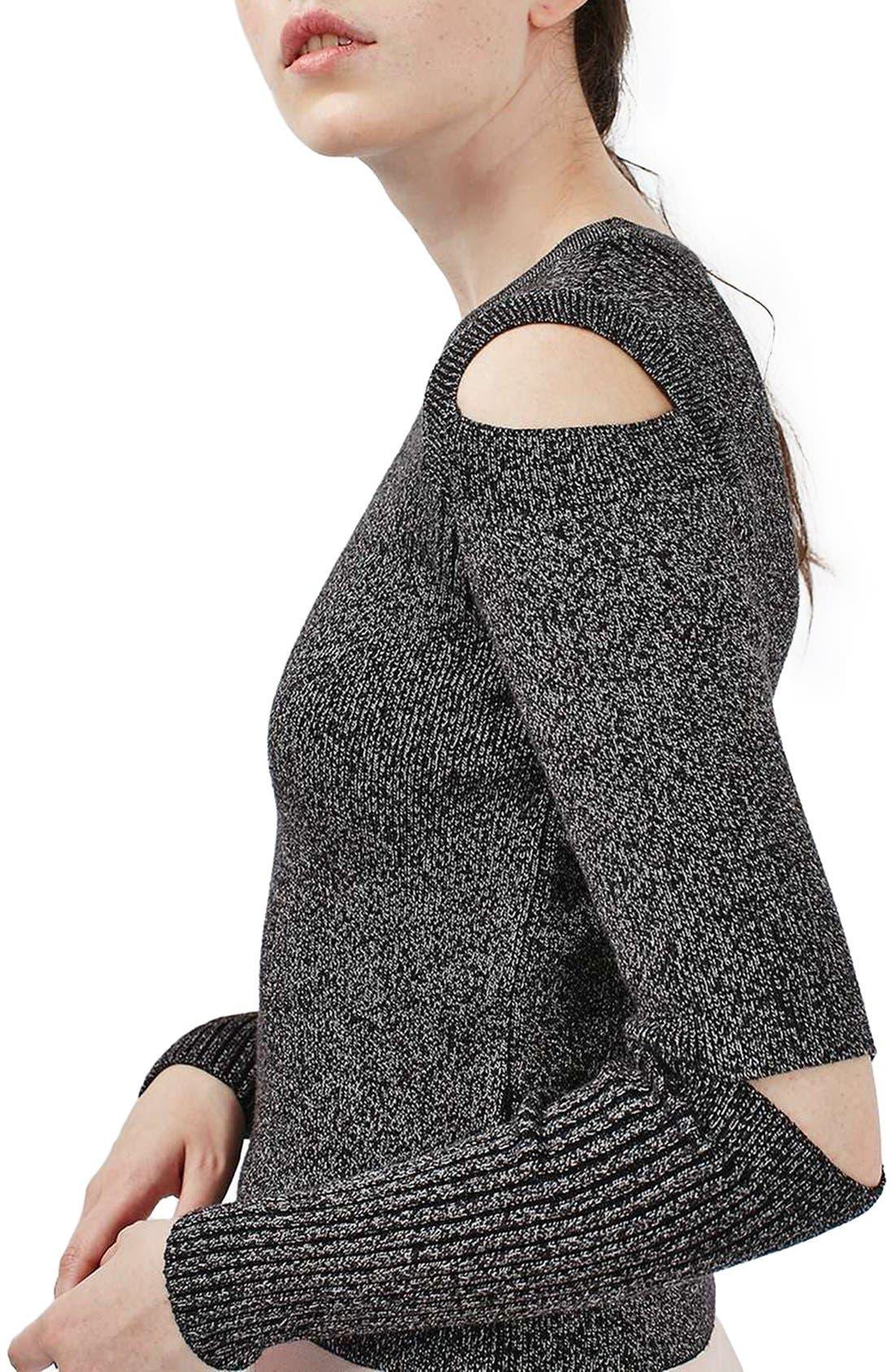 Alternate Image 5  - Topshop Slash Sleeve Marled Sweater