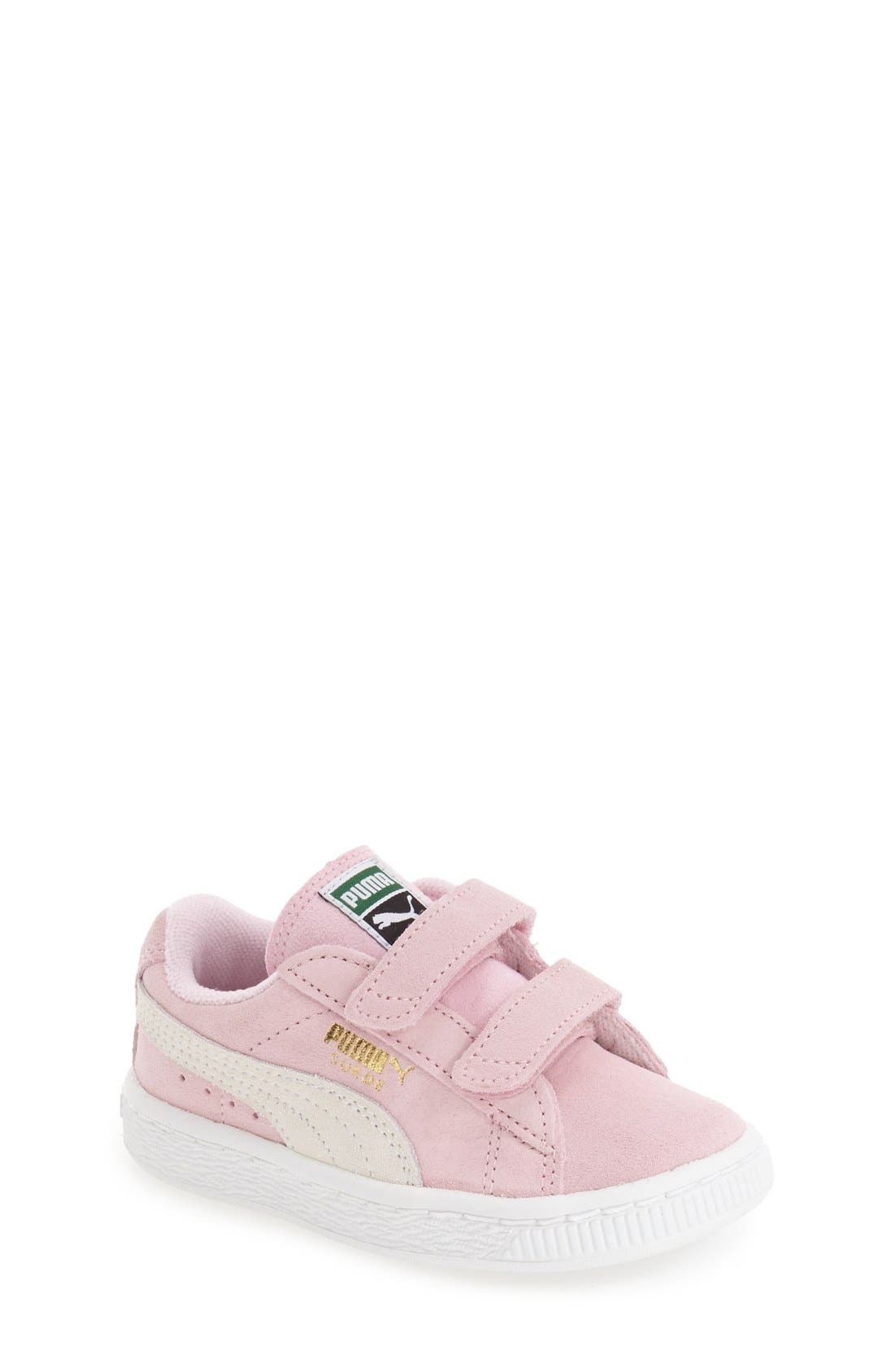 Suede Sneaker,                             Main thumbnail 1, color,                             Pink Lady/ Team Gold