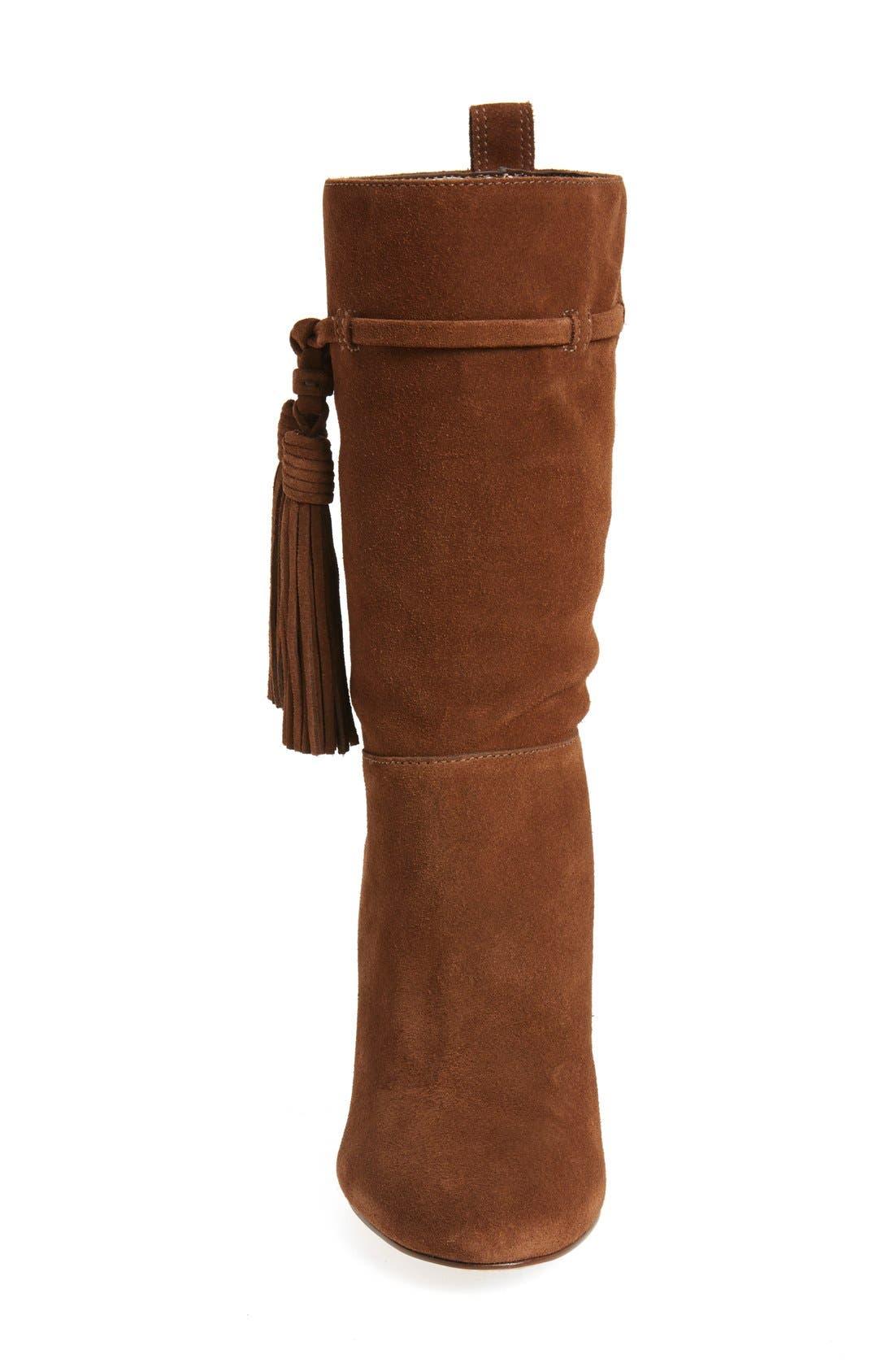 'Fermel' Slouch Tassel Boot,                             Alternate thumbnail 3, color,                             Brown Suede