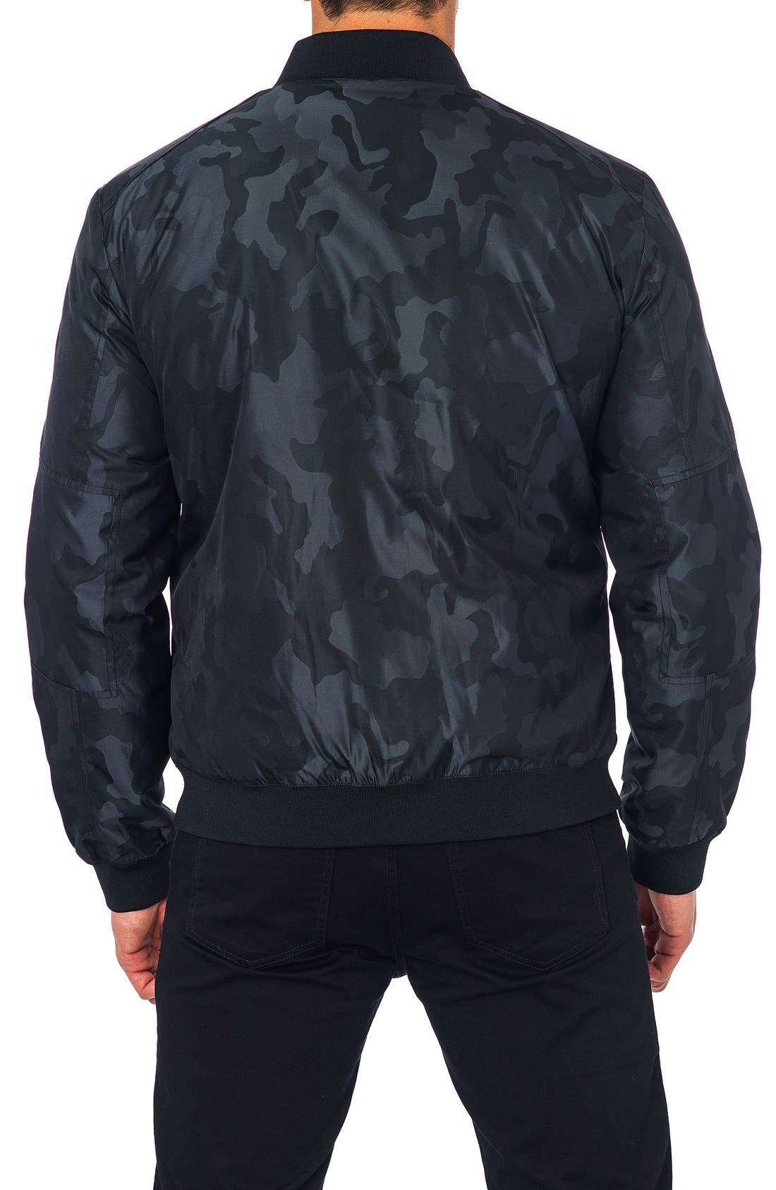 New York Reversible Bomber Jacket,                             Alternate thumbnail 2, color,                             Black Camo/ Black Quilted