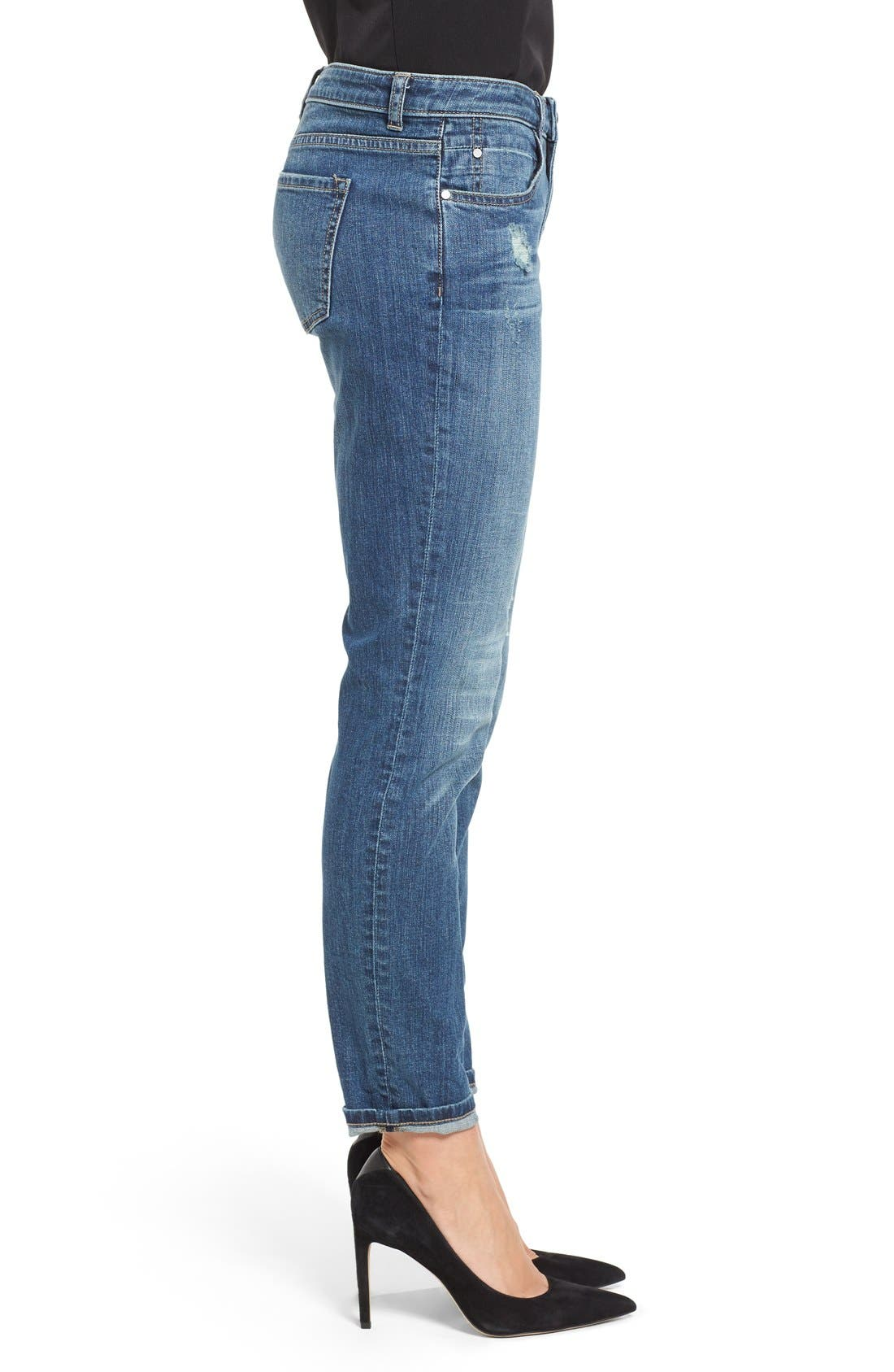 Alternate Image 3  - Caslon® Distressed Boyfriend Jeans (Indigo Tide)