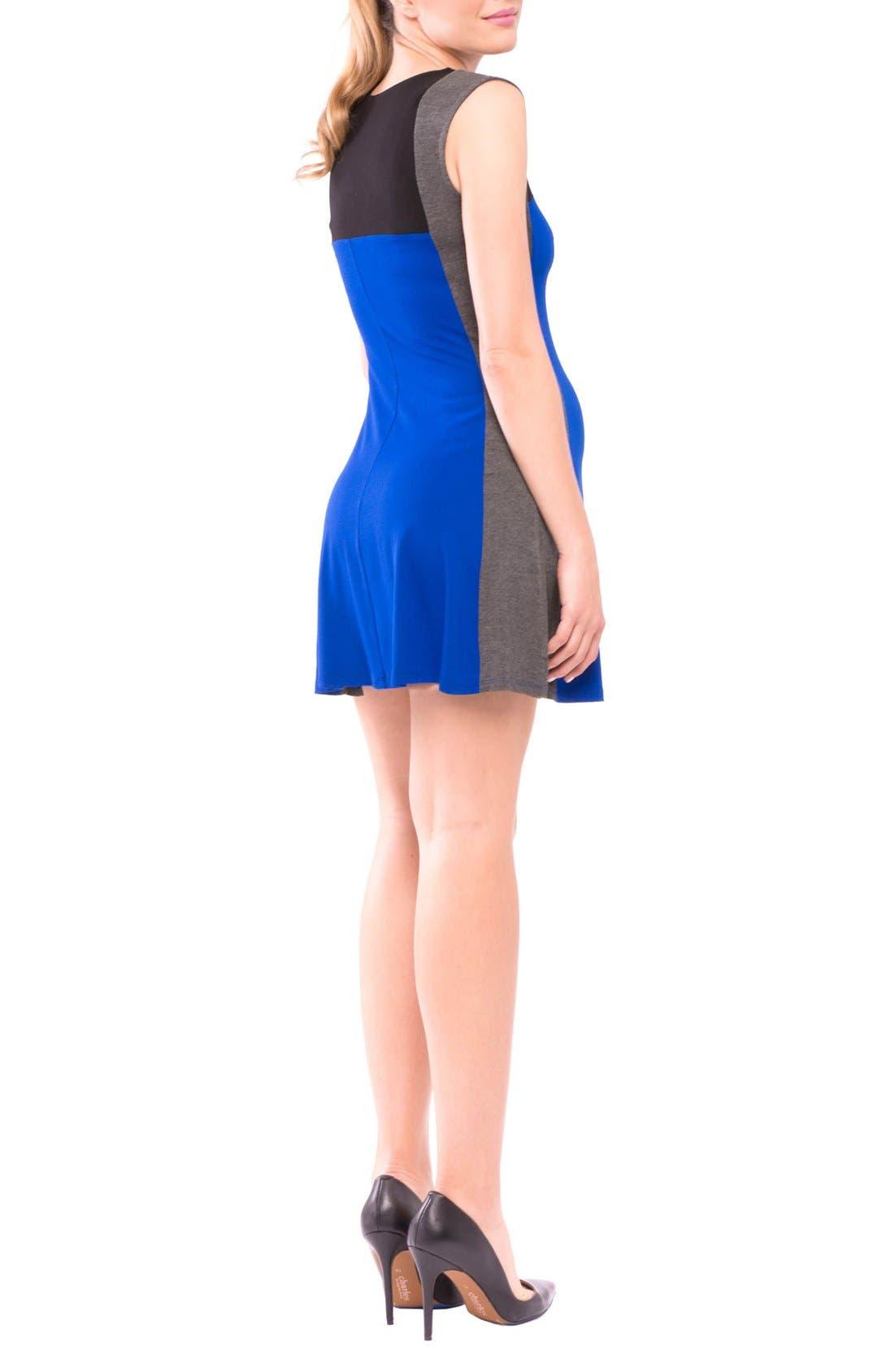 Margarett Maternity Dress,                             Alternate thumbnail 2, color,                             True Blue/ Grey/ Black