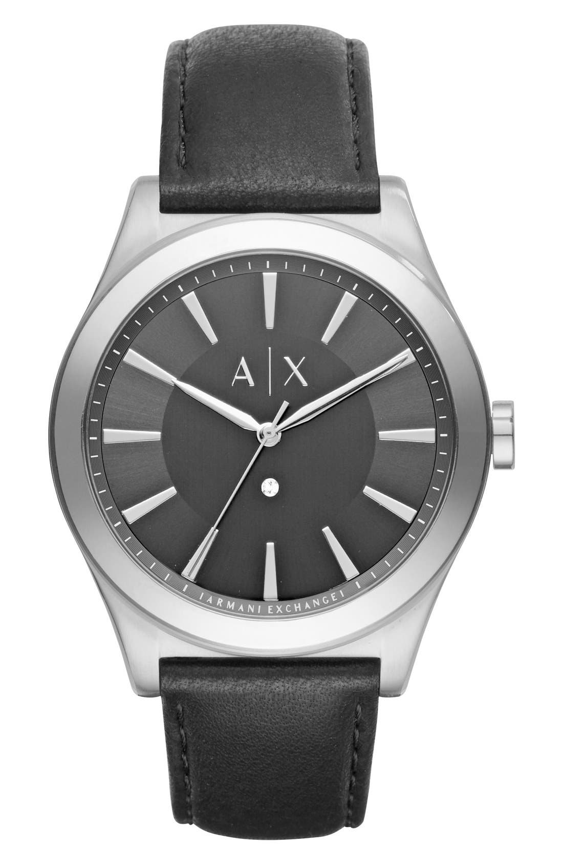 AX Armani Exchange Leather Strap Watch, 44mm