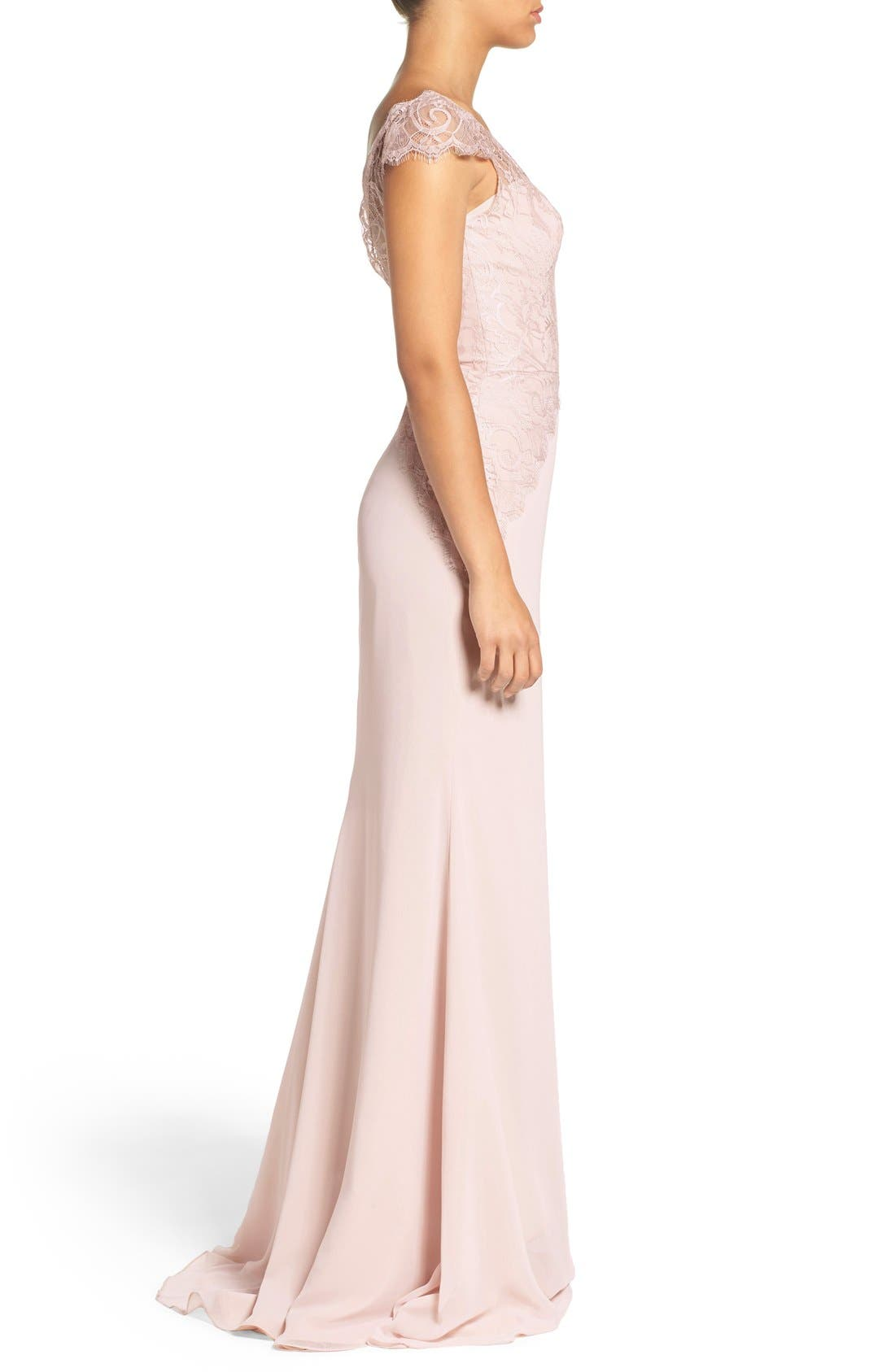 Cap Sleeve Lace & Chiffon Trumpet Gown,                             Alternate thumbnail 7, color,                             Rose/ Blush/ Cashmere