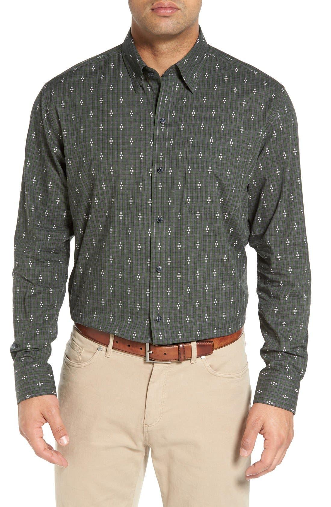 'Maxwell' Jacquard Check Sport Shirt,                             Main thumbnail 1, color,                             Grey/ Multi