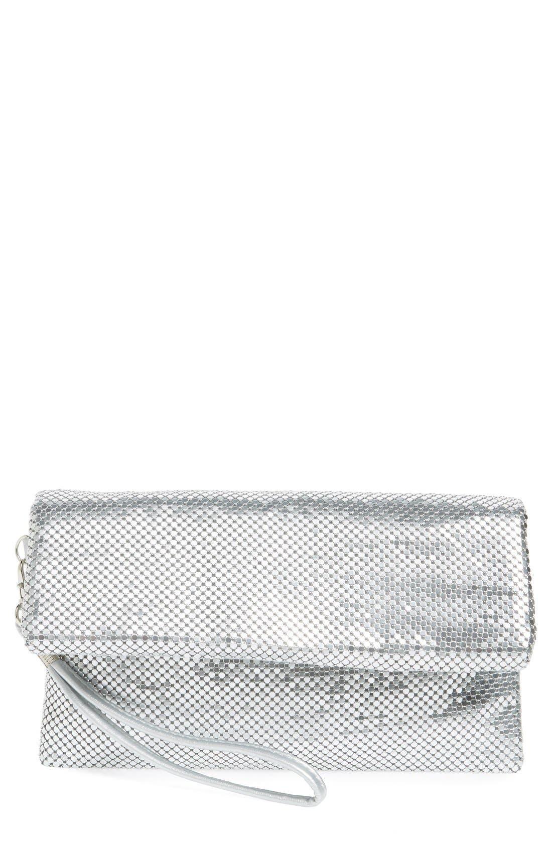 Main Image - La Regale Foldover Metal Mesh Clutch