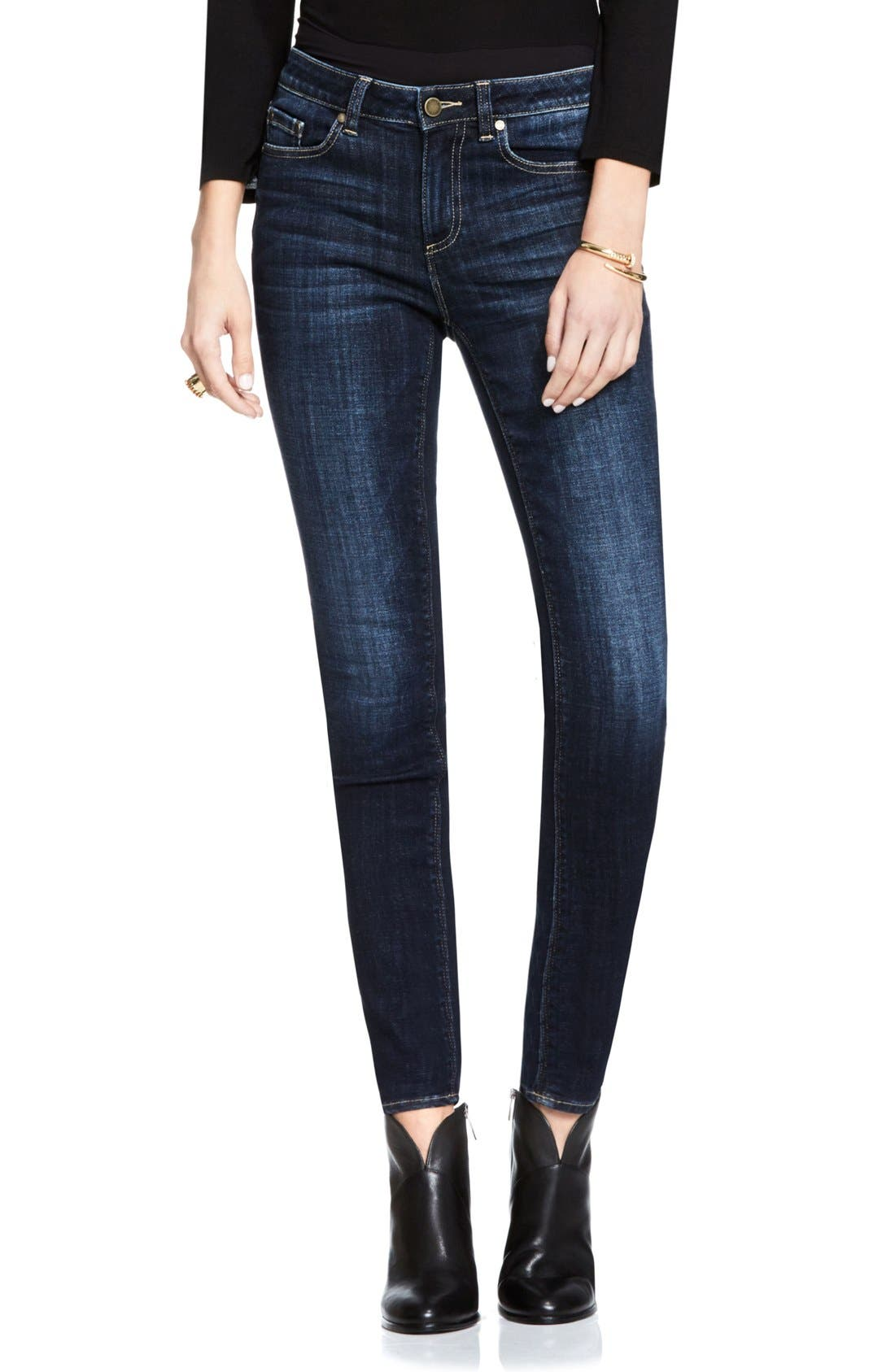Stretch Skinny Jeans,                         Main,                         color, Dark Authentic