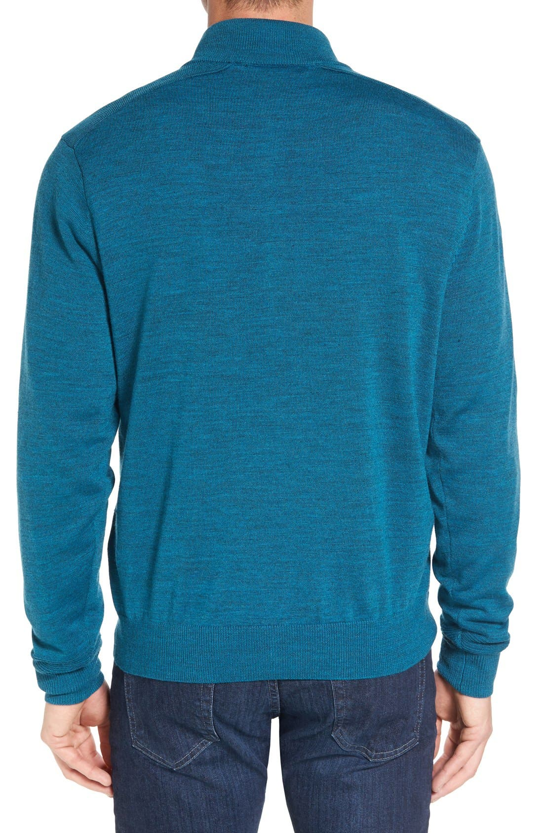 Douglas Quarter Zip Wool Blend Sweater,                             Alternate thumbnail 2, color,                             Mykonos Heather