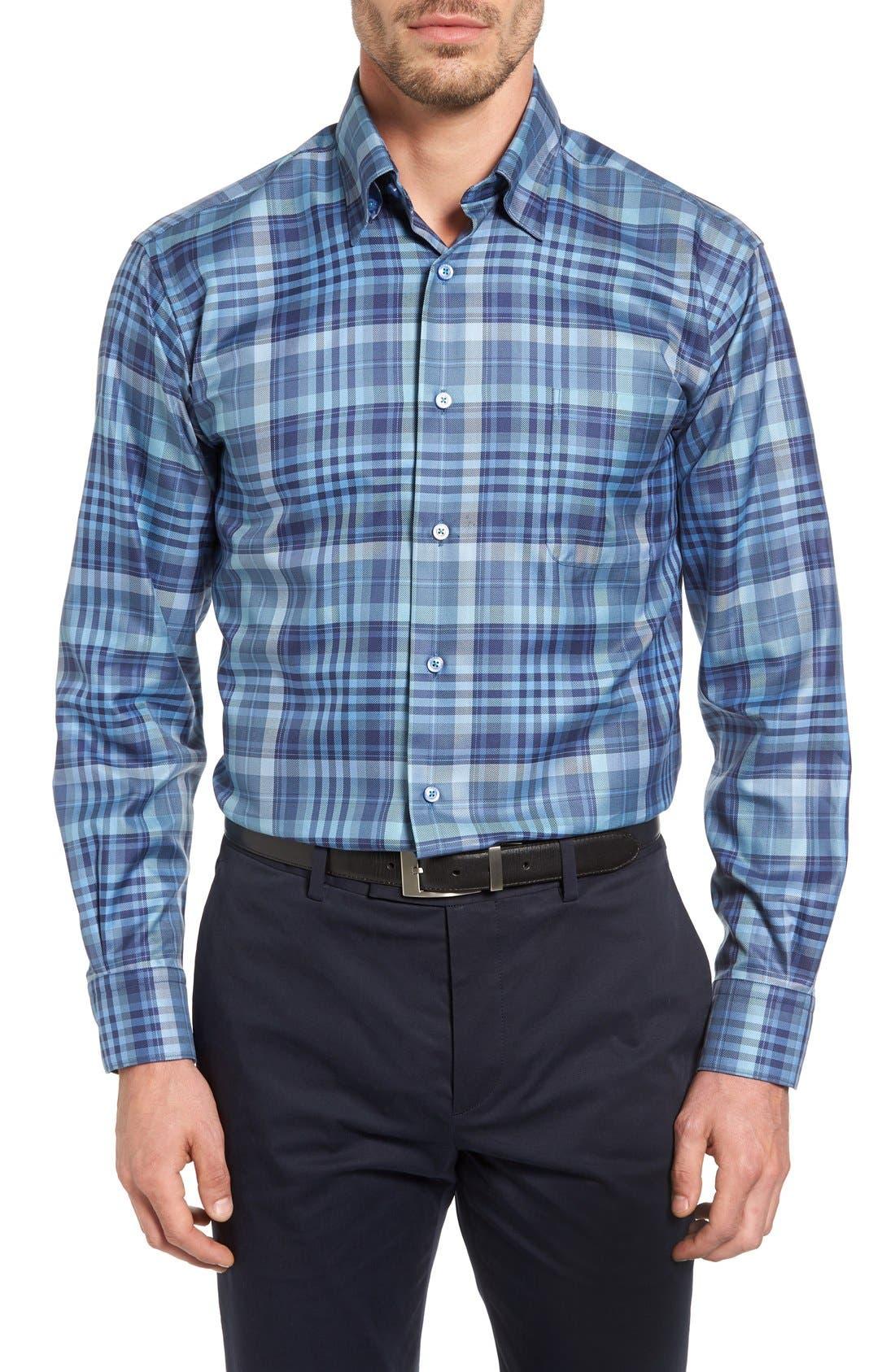 'Anderson' Classic Fit Plaid Sport Shirt,                         Main,                         color, Maritime