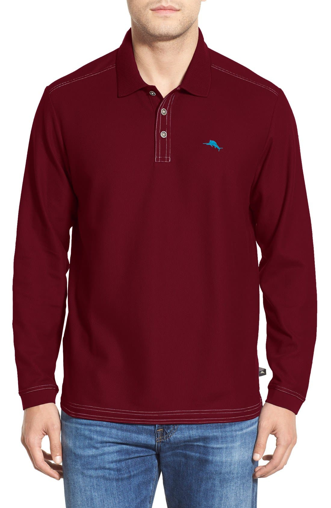 Emfielder Long Sleeve Polo,                         Main,                         color, Cabernet Red